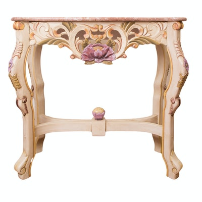 Hand Painted French Provincial Style Sofa Table with Marble Top - Online Furniture Auctions Vintage Furniture Auction Antique