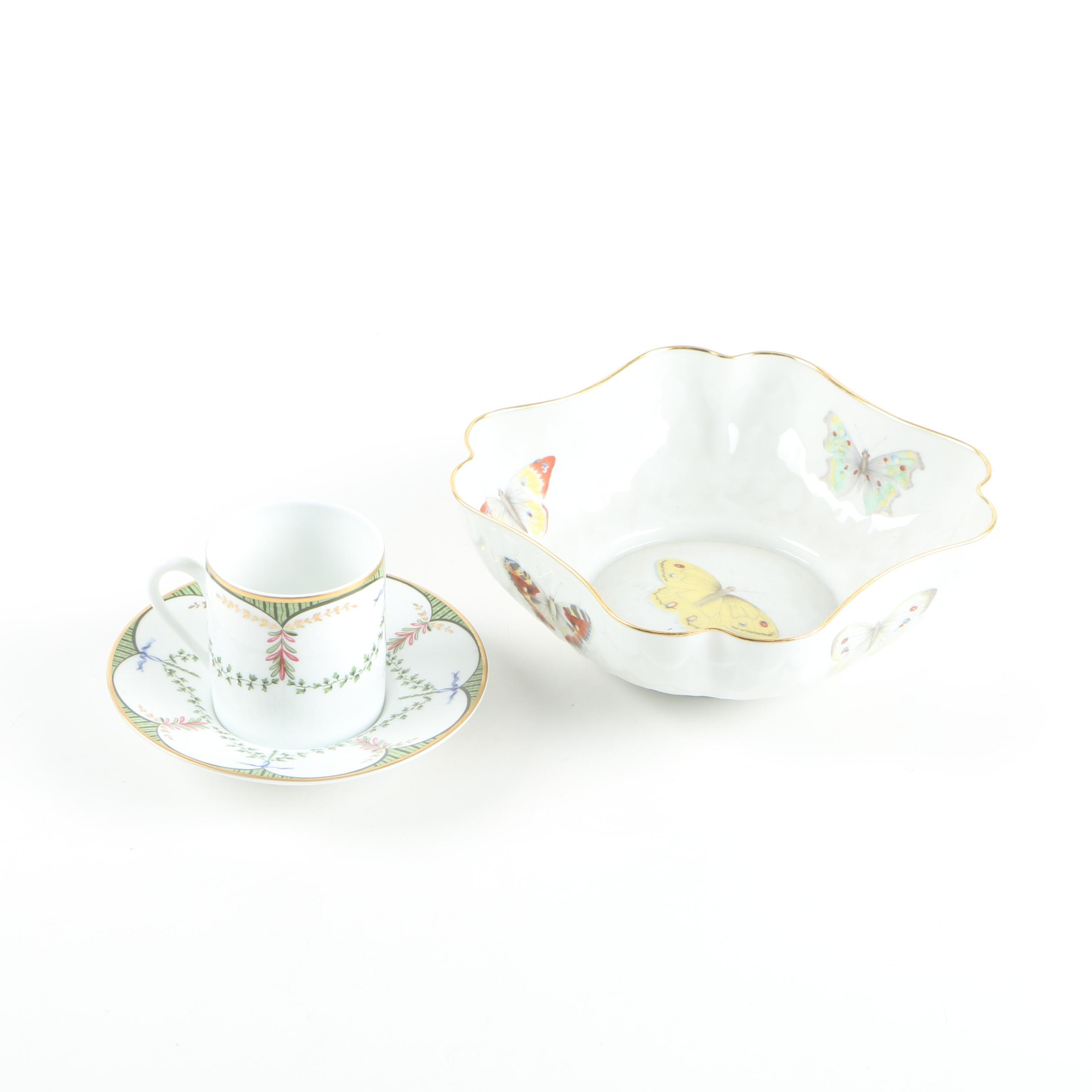 Limoges L. Bernardaud & Co. Serving Bowl with A. Raynaud Teacup and Saucer