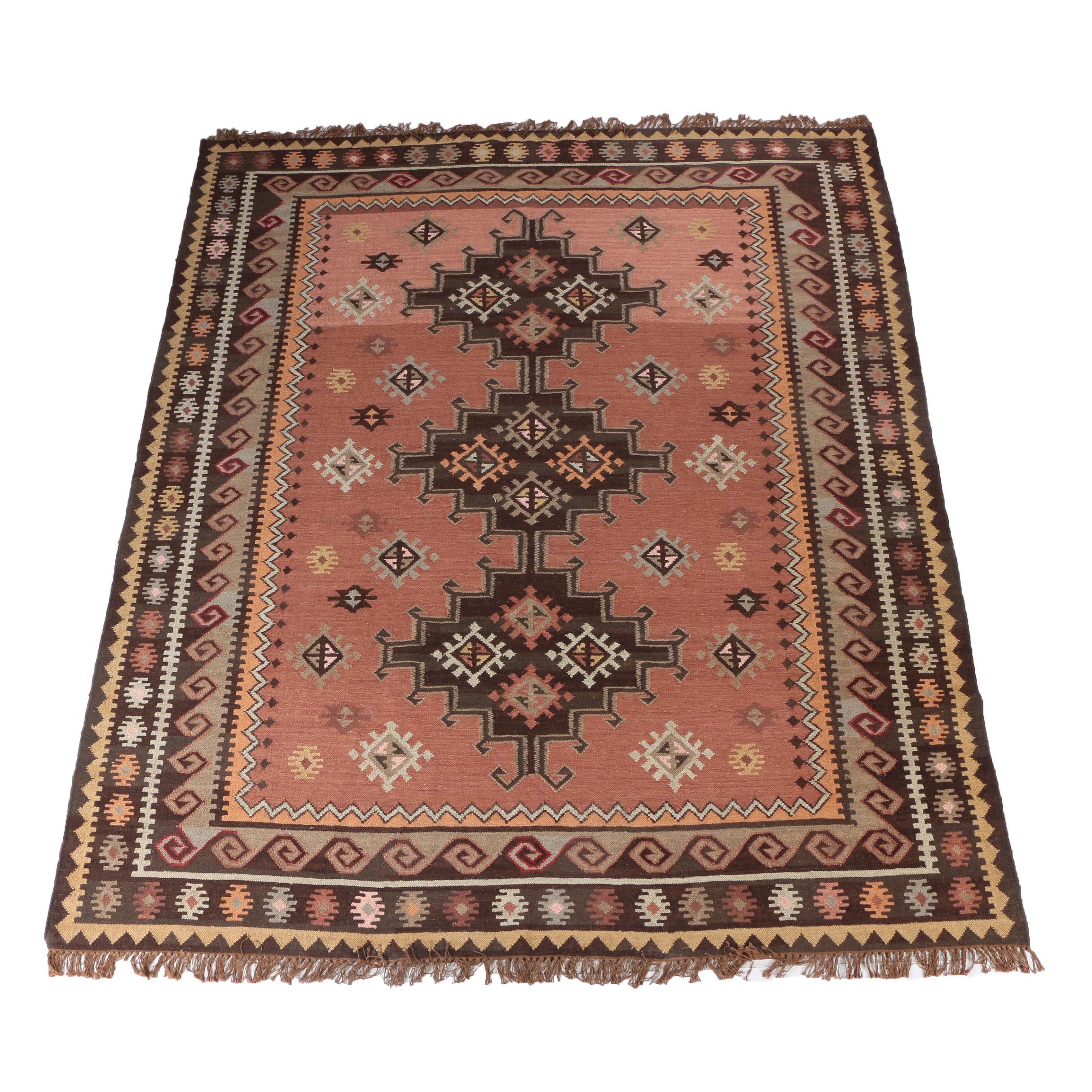 Handwoven Kazak Style Kilim Wool Area Rug