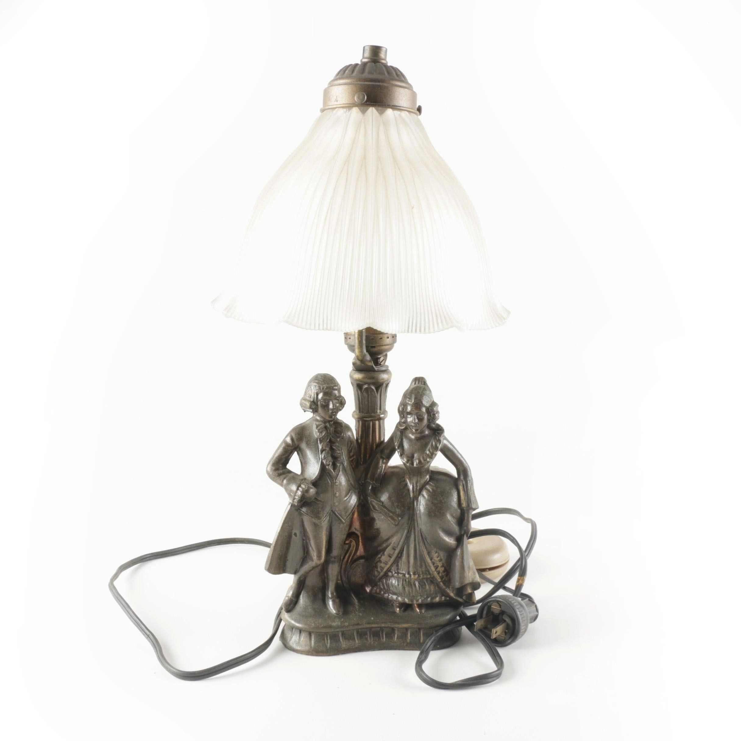 Art Nouveau Figural Metal Table Lamp