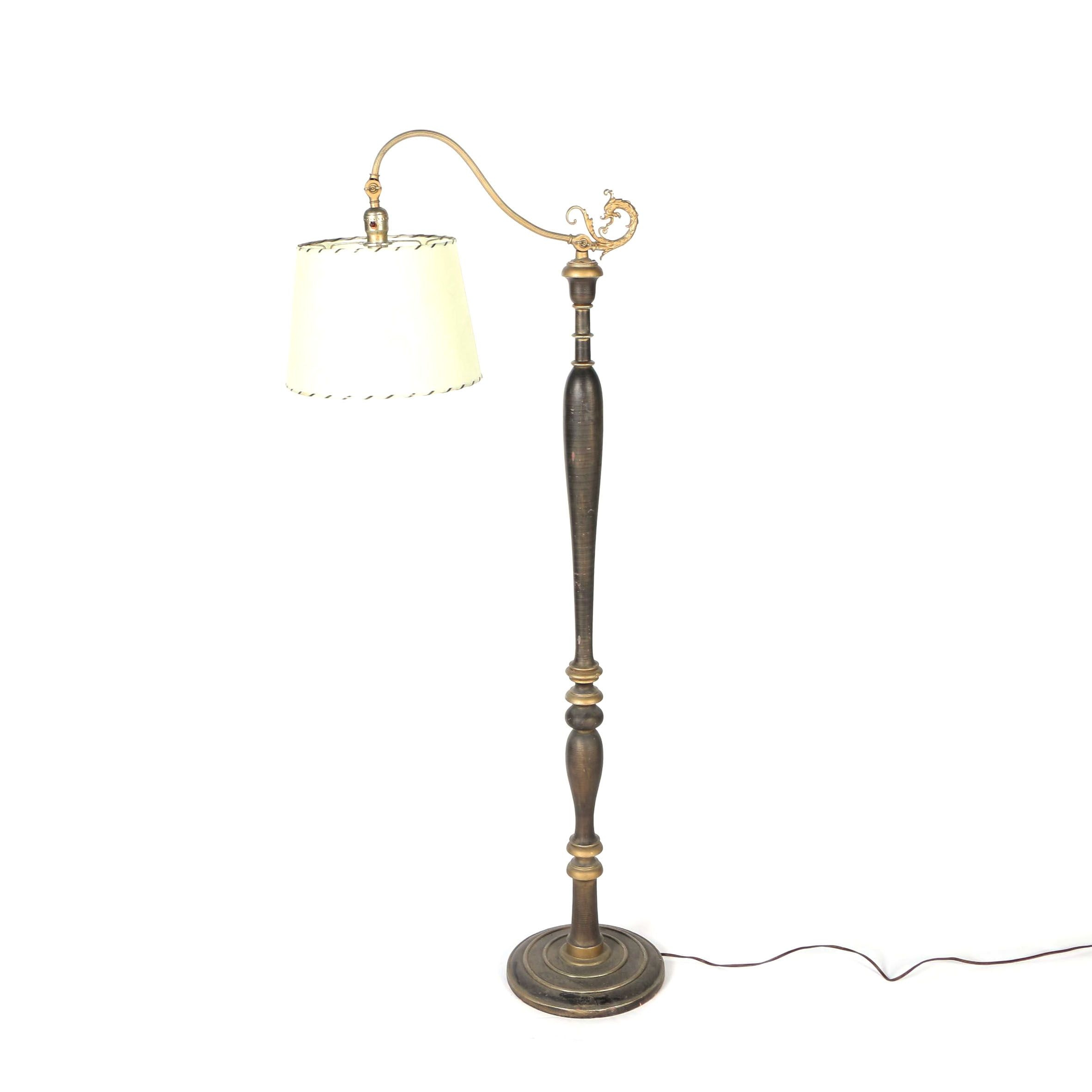 Brass and Wood Dragon Floor Lamp