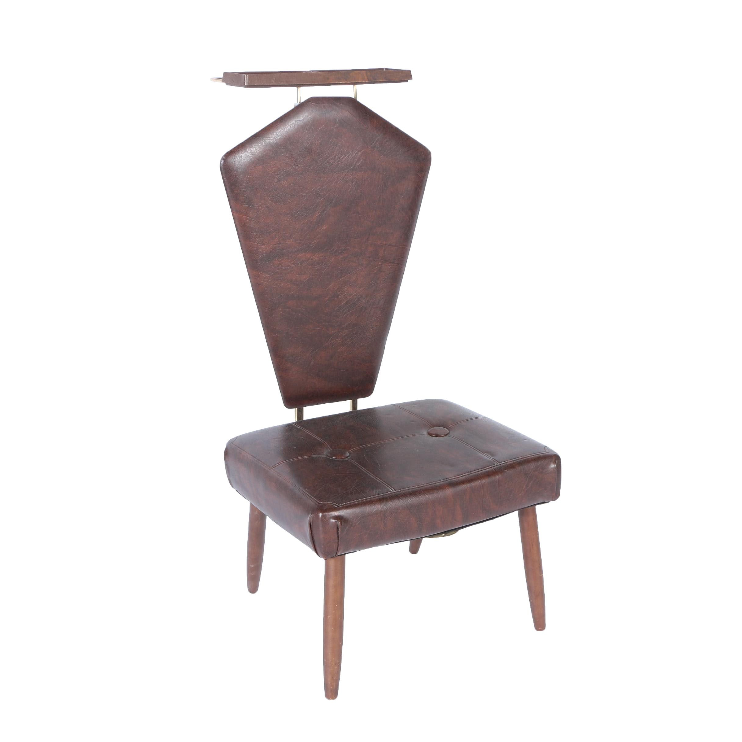 Mid Century Modern Vinyl Valet Chair with Tray