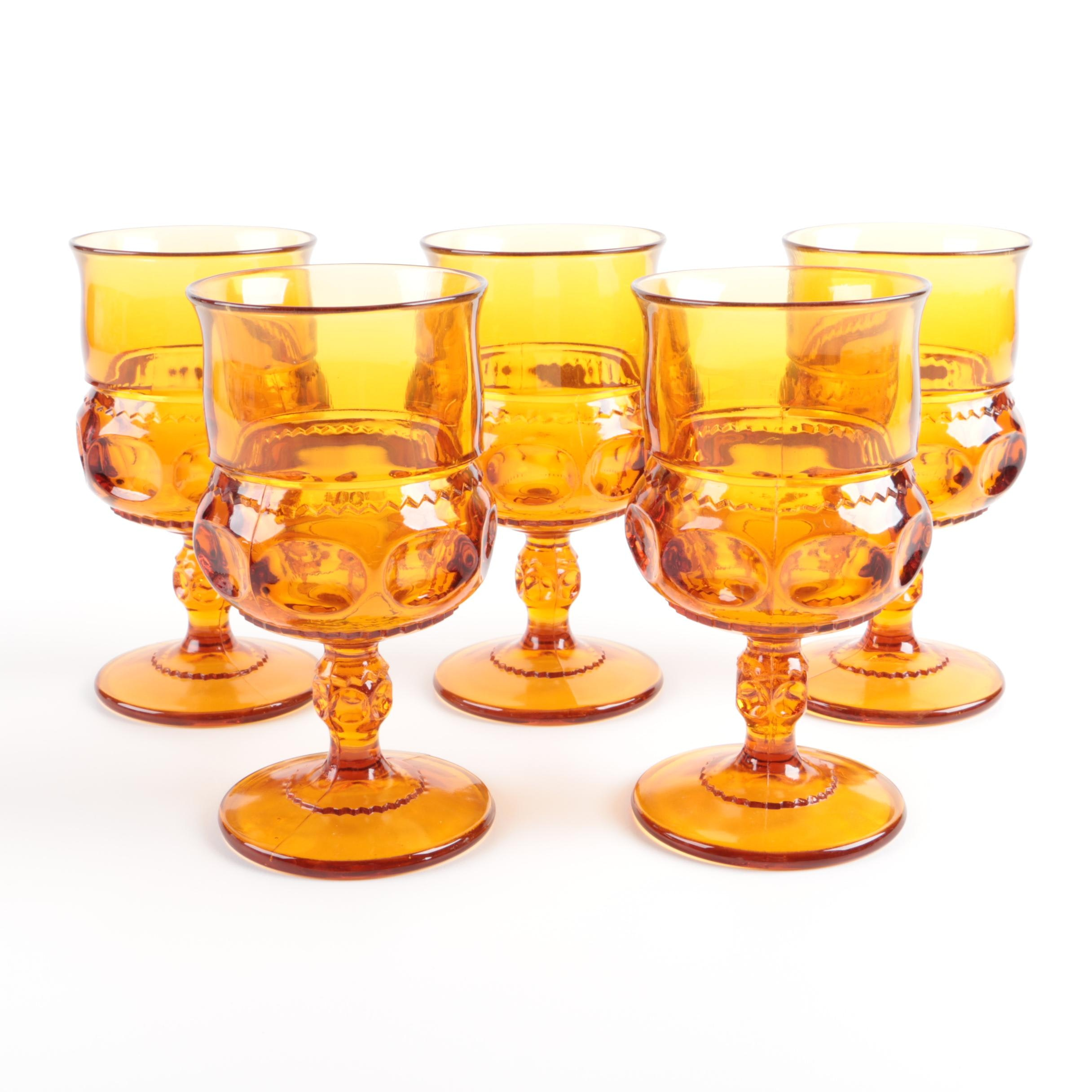 "Vintage Indiana Glass Amber ""King's Crown"" Goblets 1970s"