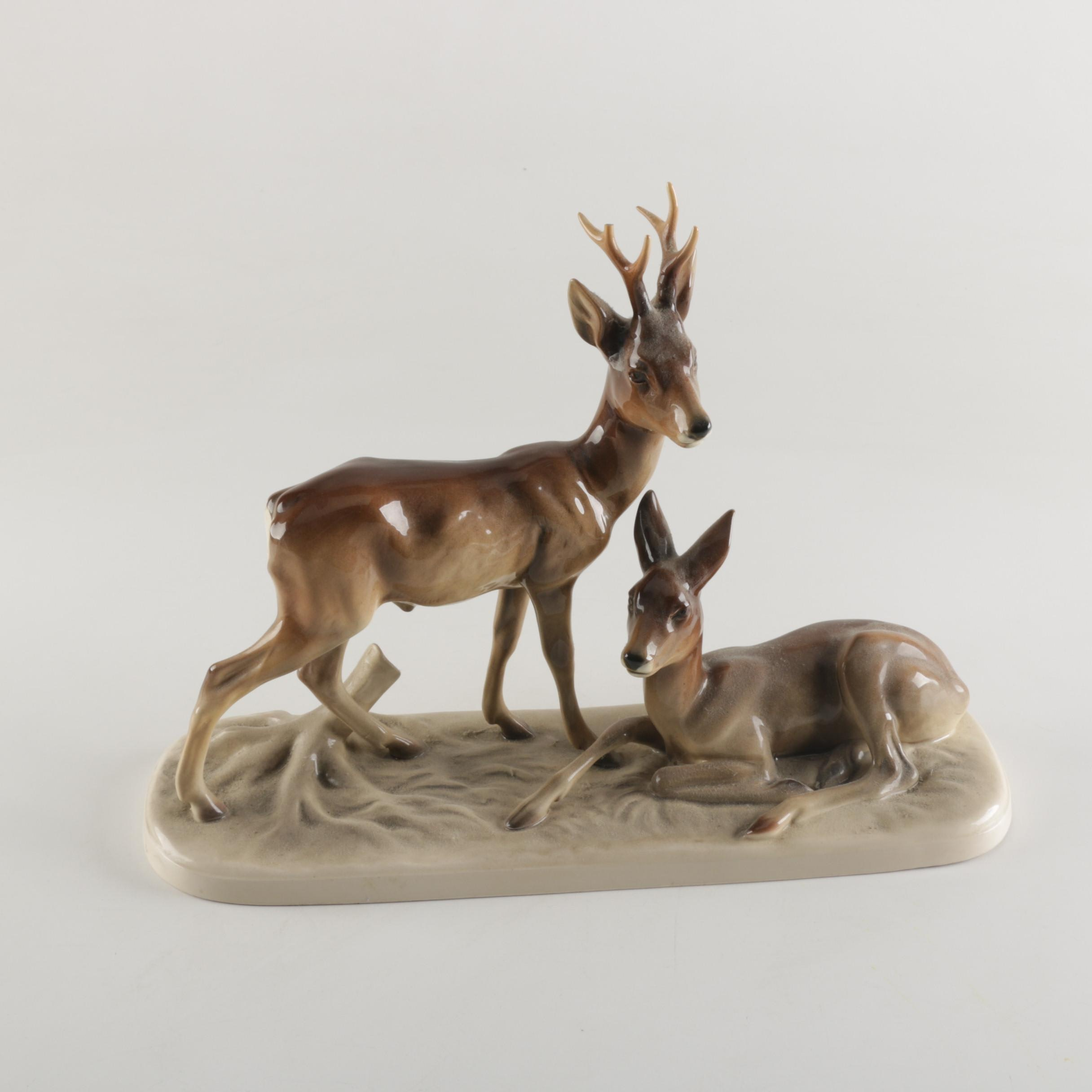 Hertwig Porcelain Buck and Doe Figurine