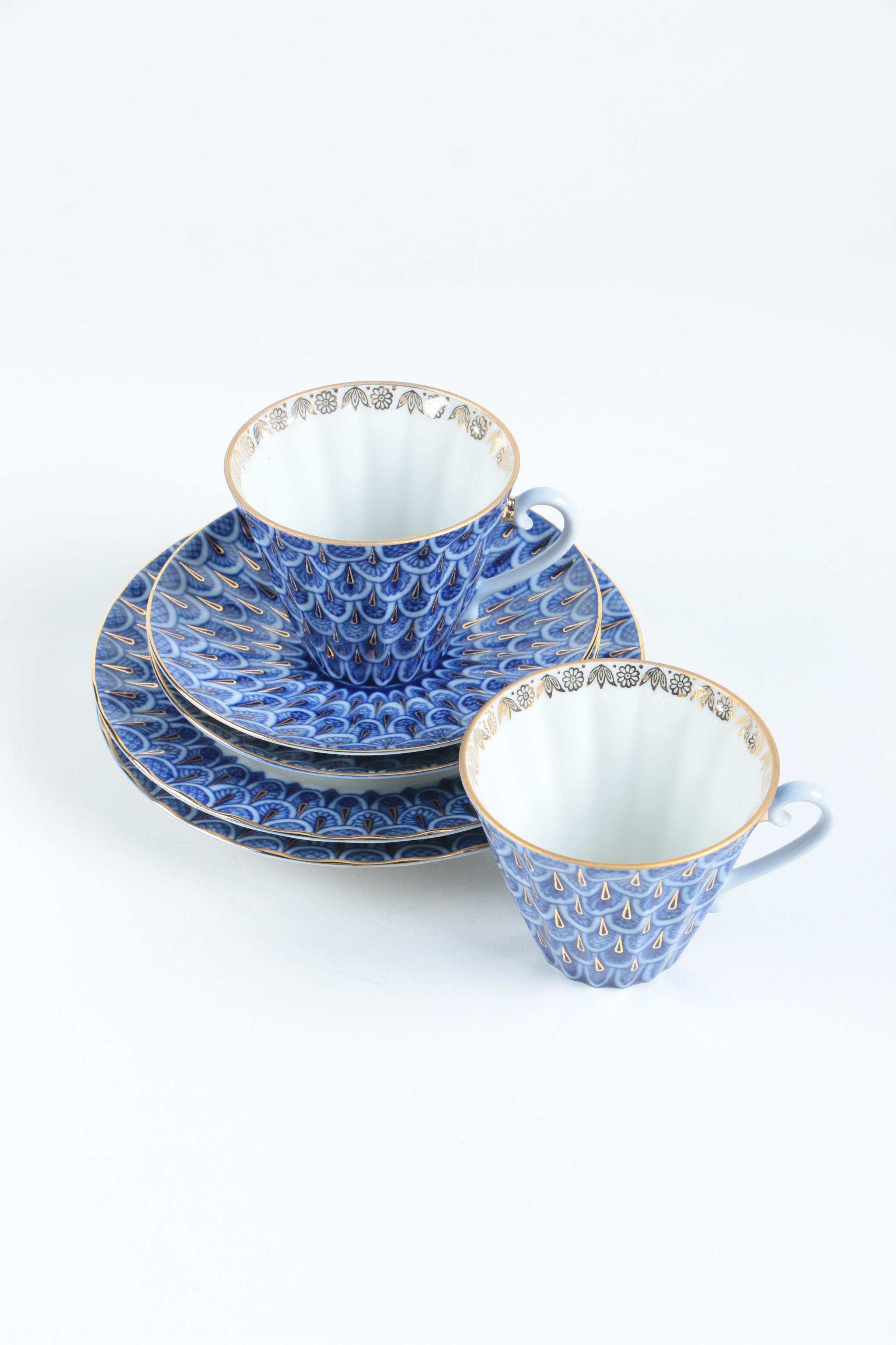Russian Imperial Lomonosov \ Forget Me Not\  Porcelain Tableware ... & Russian Imperial Lomonosov \