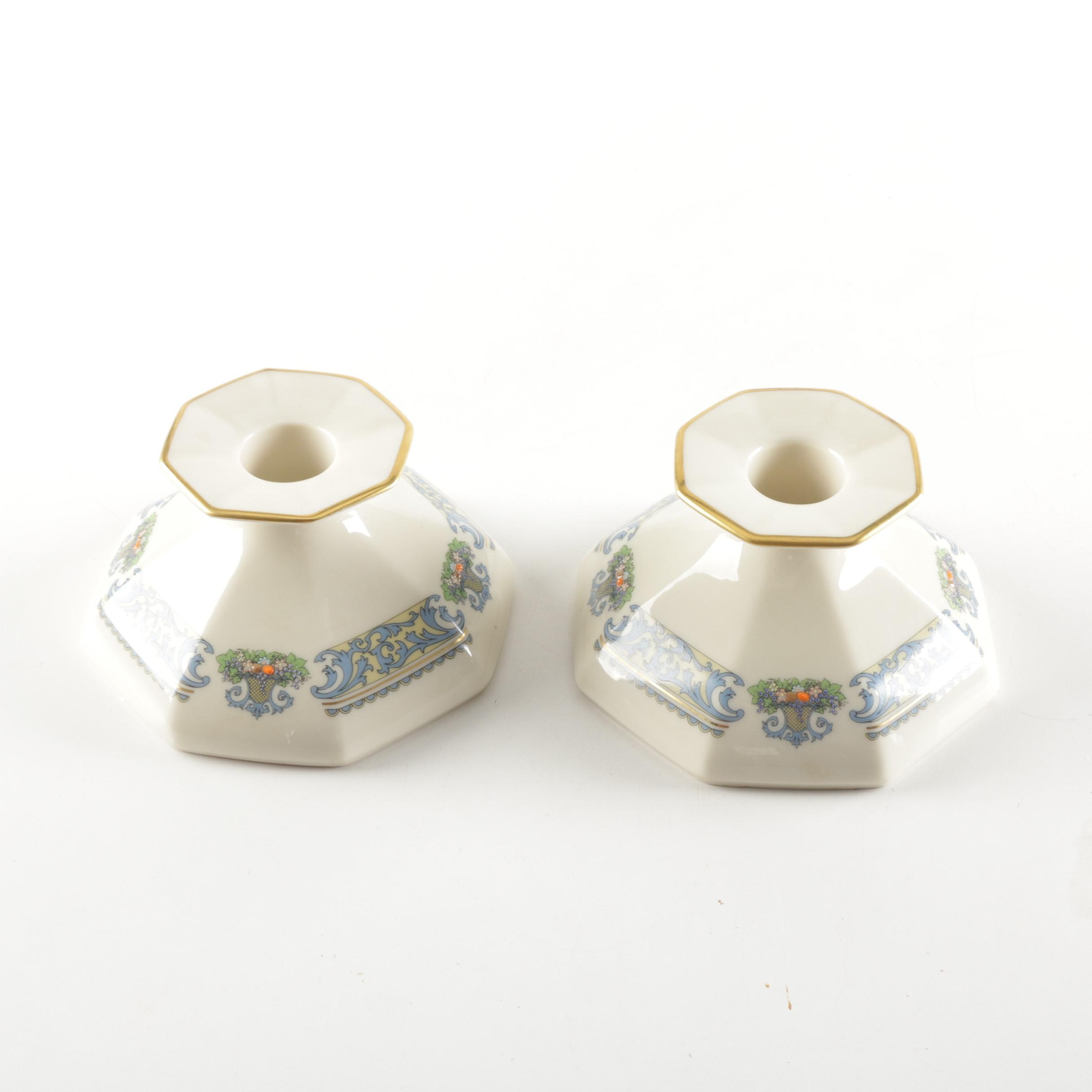 "Lenox ""Autumn"" Octagonal Ceramic Candle Holders"