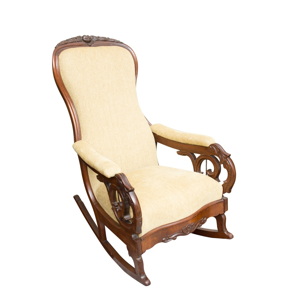 Antique Victorian Carved Mahogany Rocking Chair