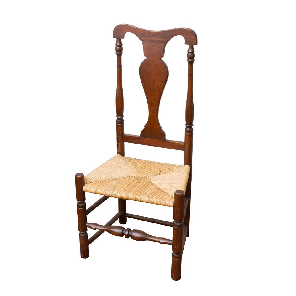 Queen Anne Style Walnut Side Chair with Rush Seat