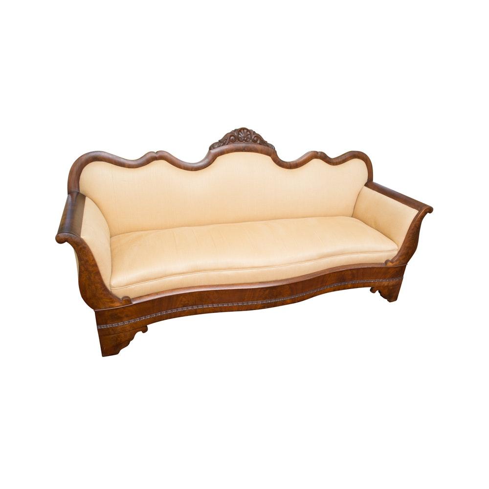 Empire Style Mahogany Upholstered Sofa