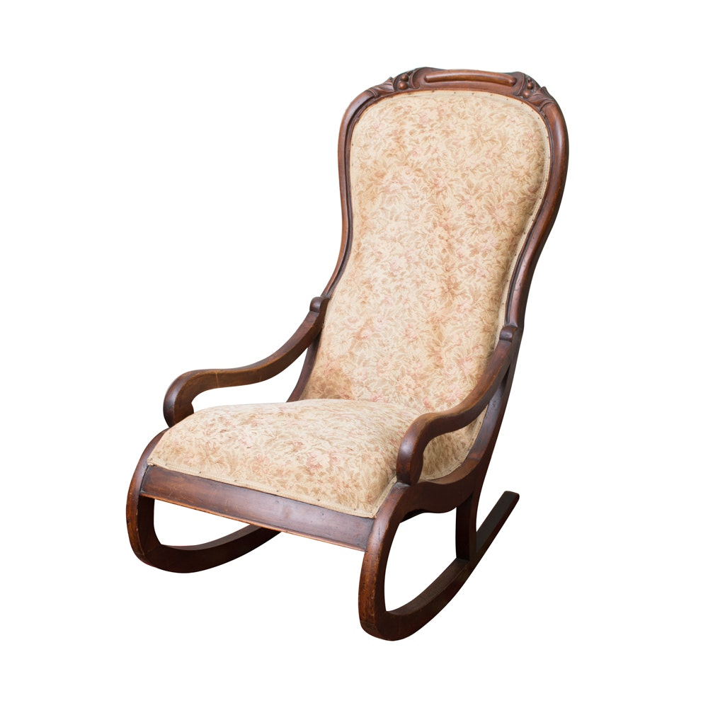 Victorian Carved Mahogany Rocking Chair