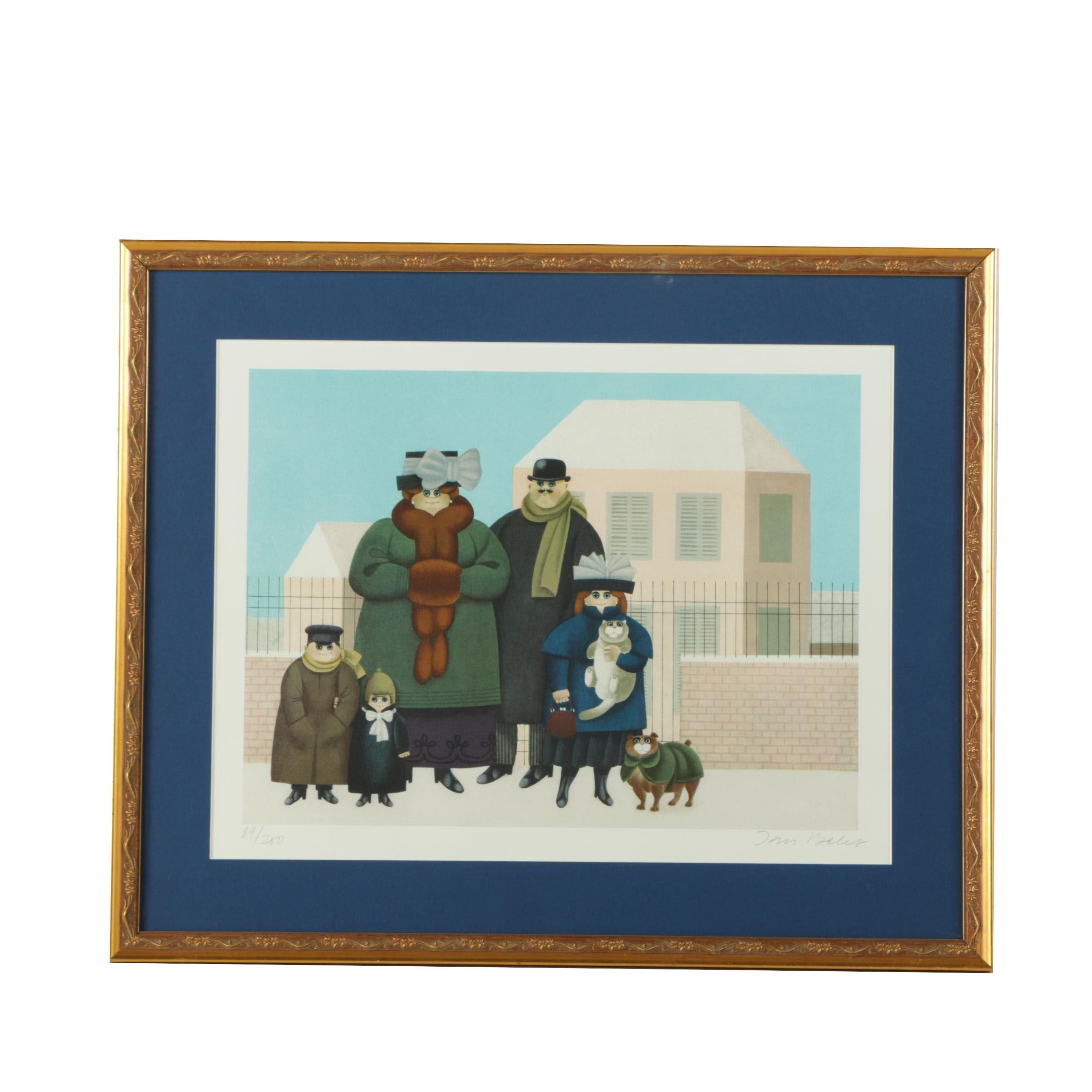 "Jan Balet Limited Edition Giclee ""Winter Family Portrait"""