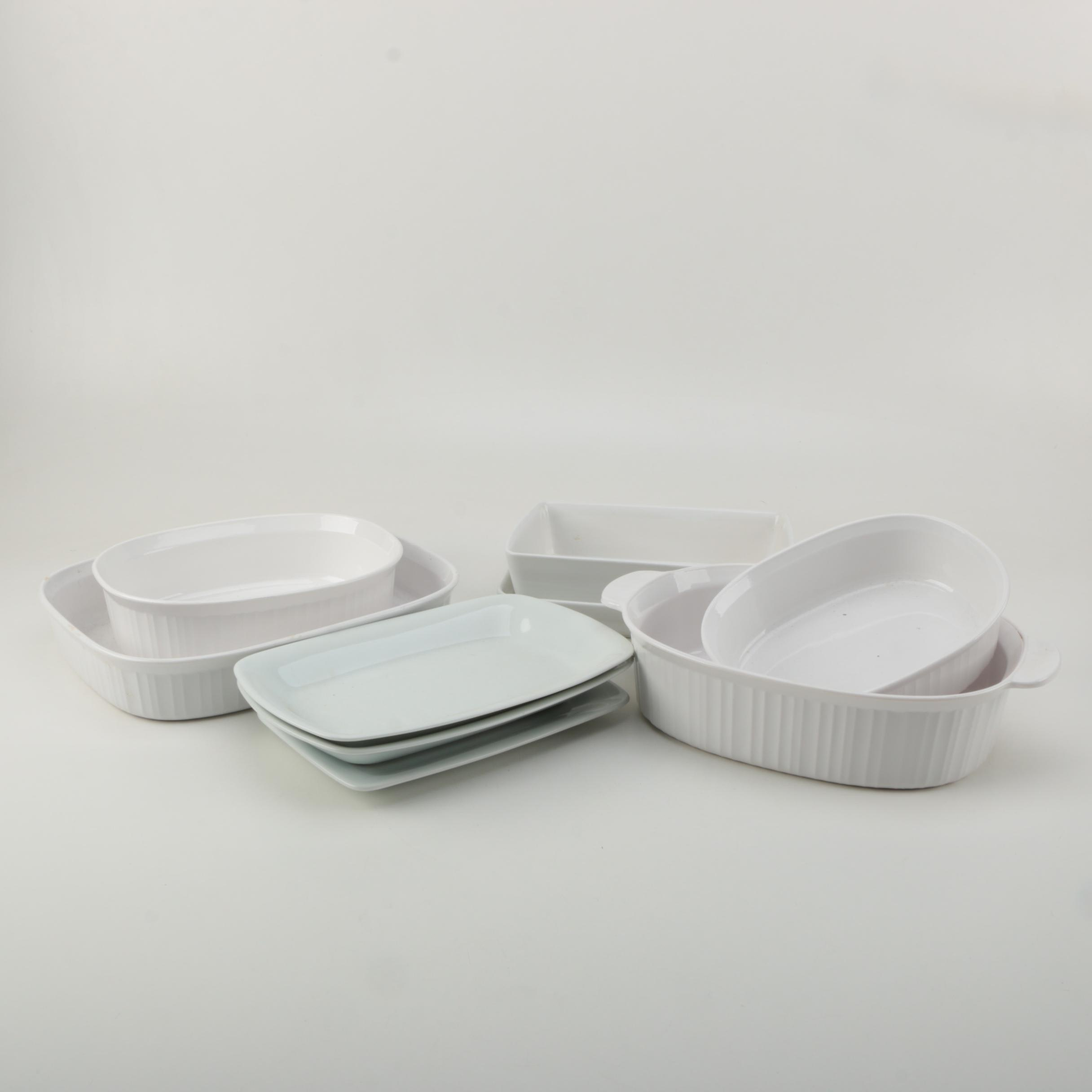 "White Bakeware and Platters Including Dansk ""Tjorn"""