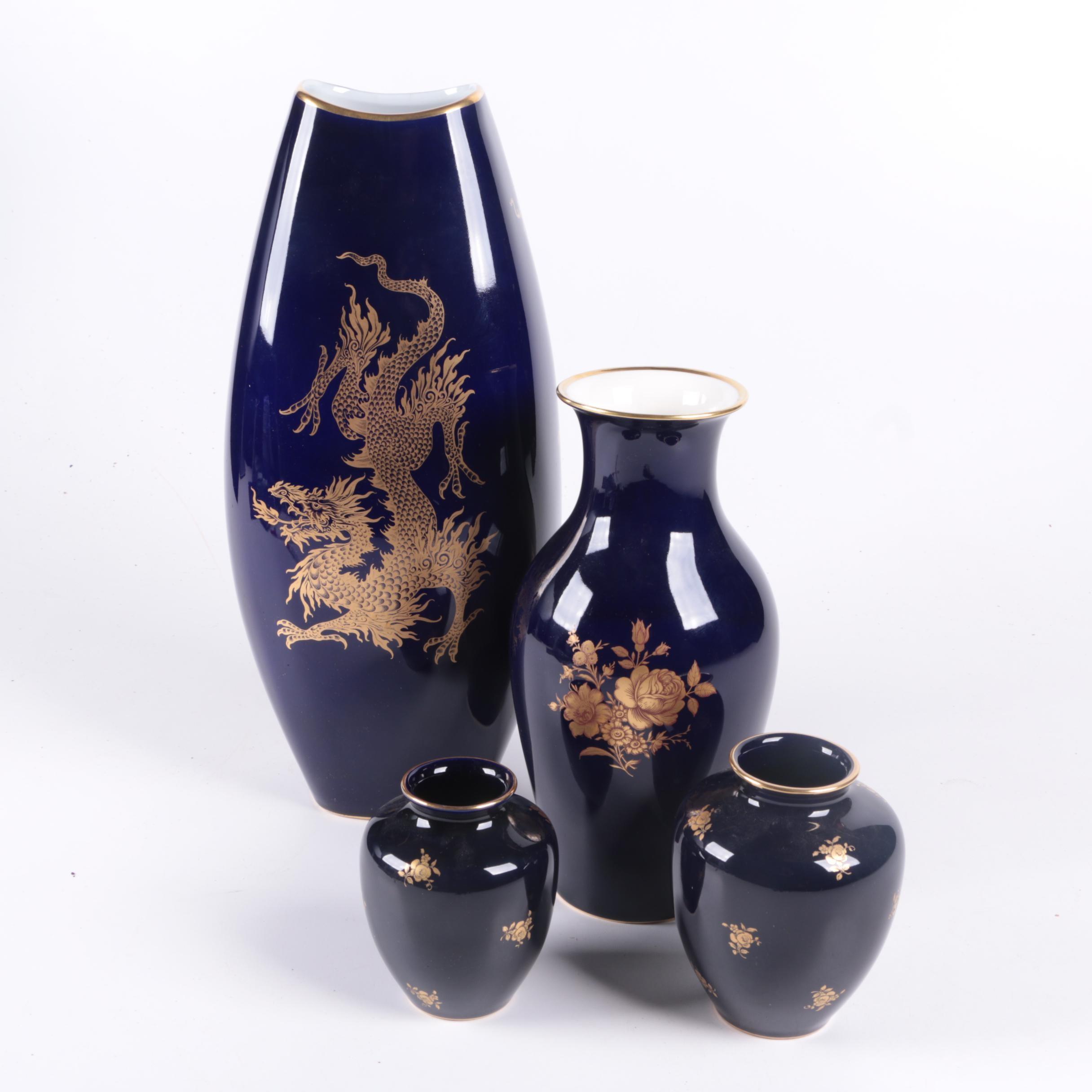 Hand Painted Bavarian Echt Cobalt Porcelain Vases