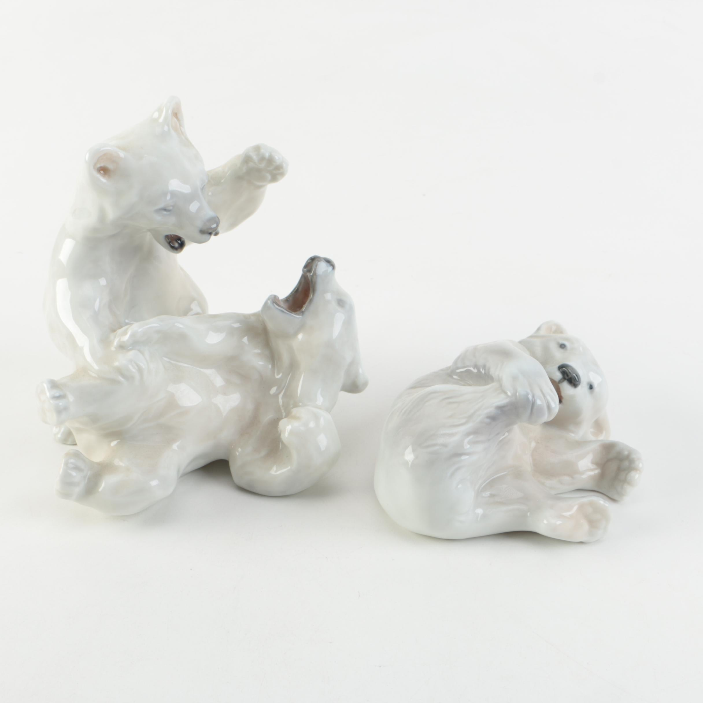 Vintage Royal Copenhagen Polar Bear Cub Figurines