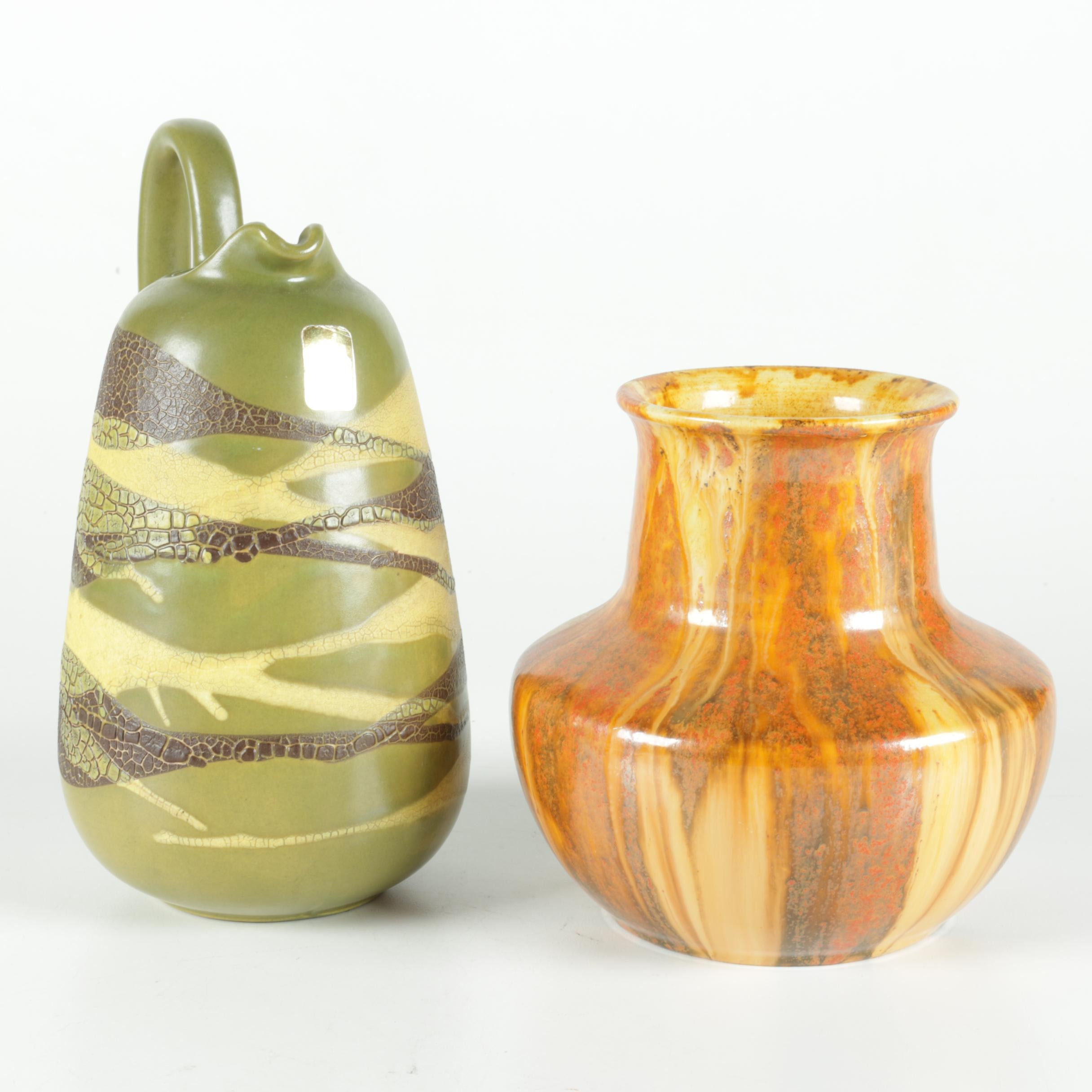 Candyware and Haeger Ceramic Vase and Pitcher