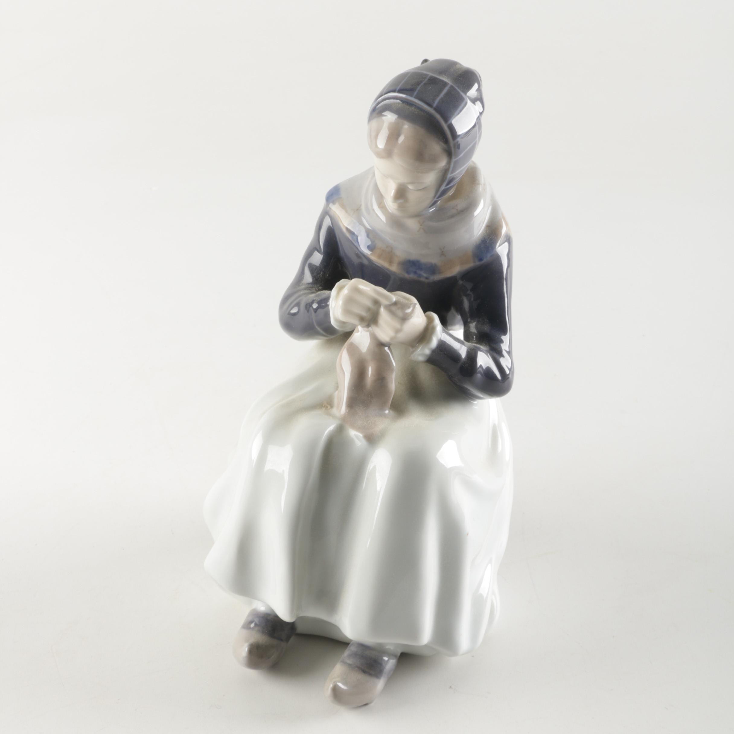 Royal Copenhagen Knitting Woman Porcelain Figurine