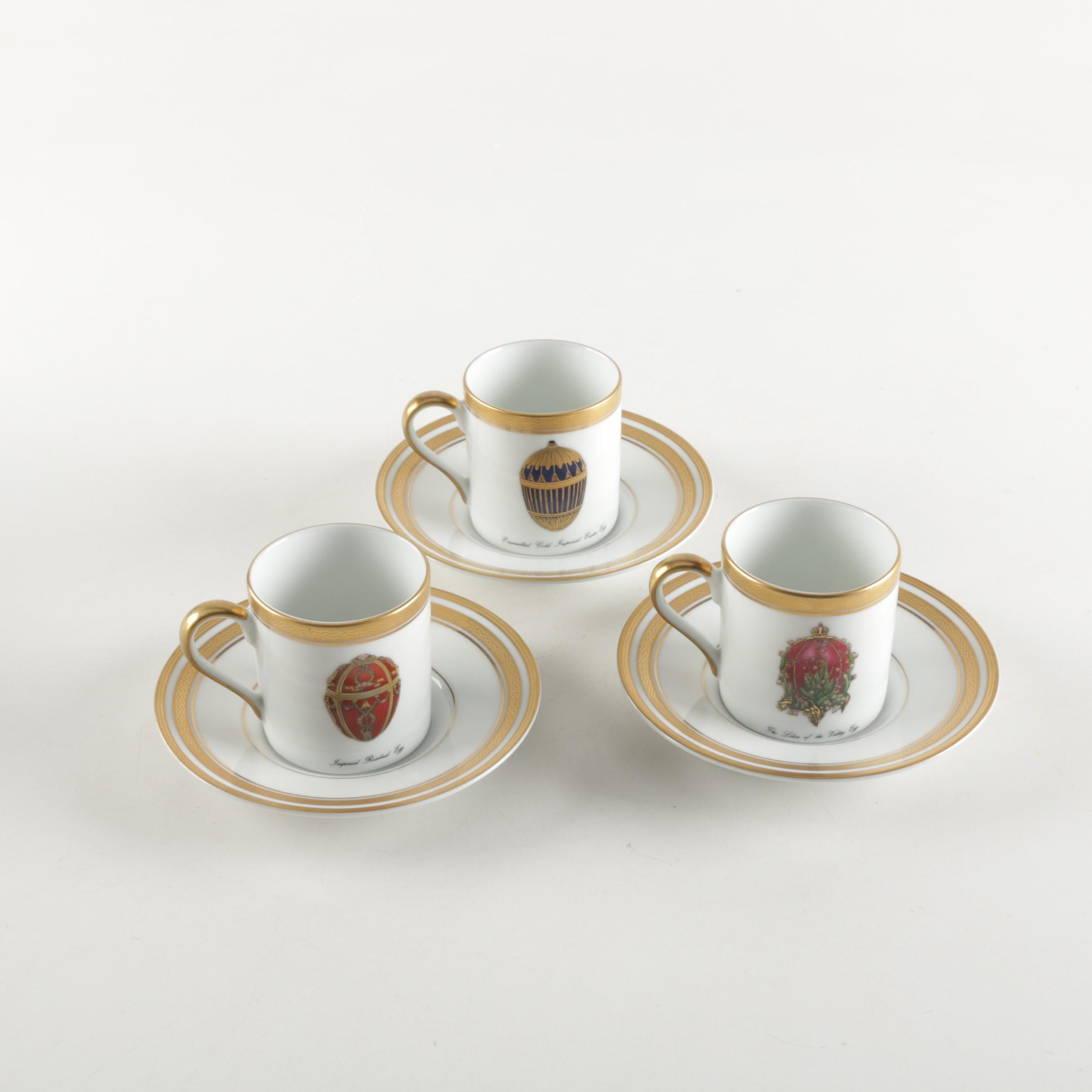 "Fabergé ""Imperial Egg Collection"" Porcelain Cups and Saucers"