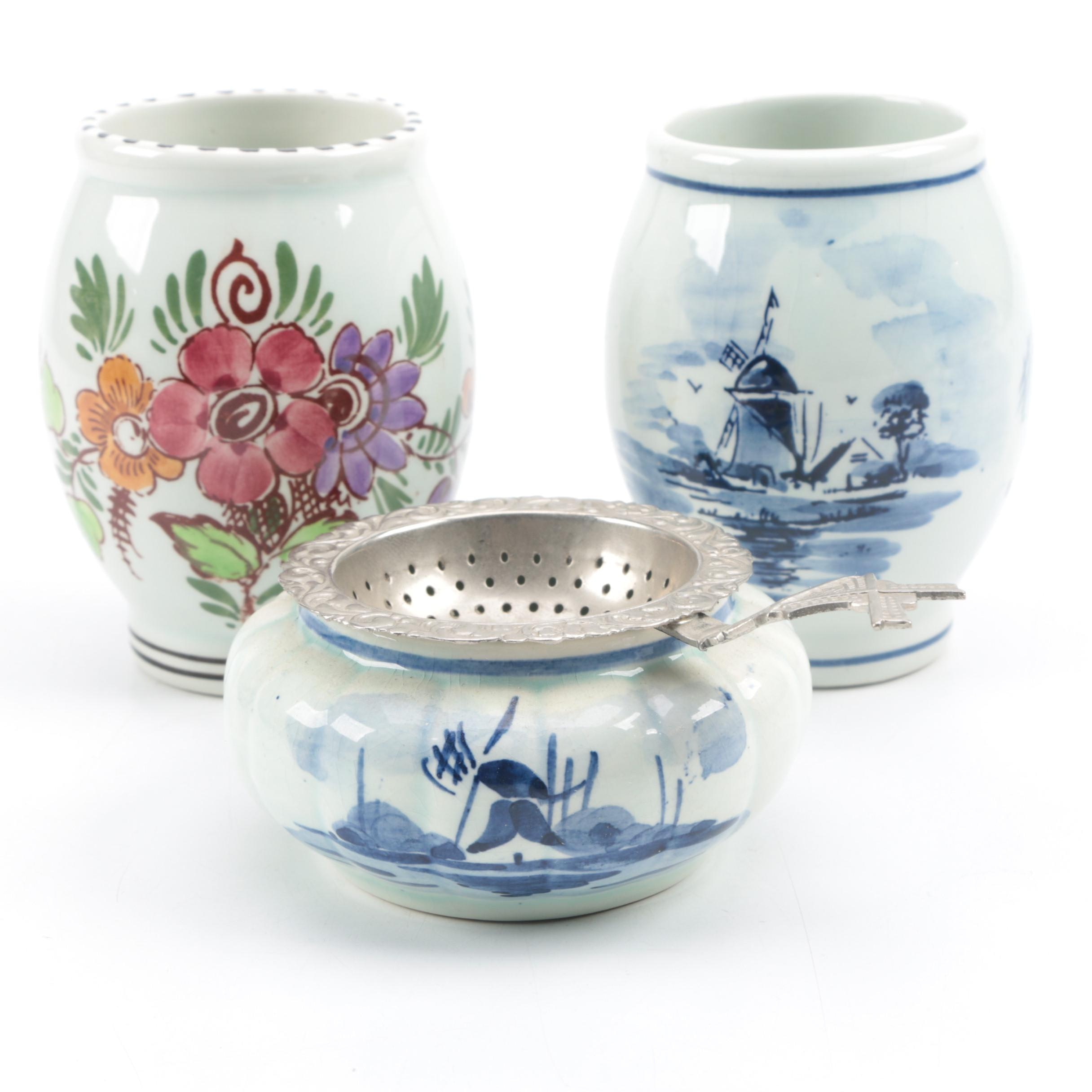 Delftse Pauw Floral and Two Pieces of Delftware
