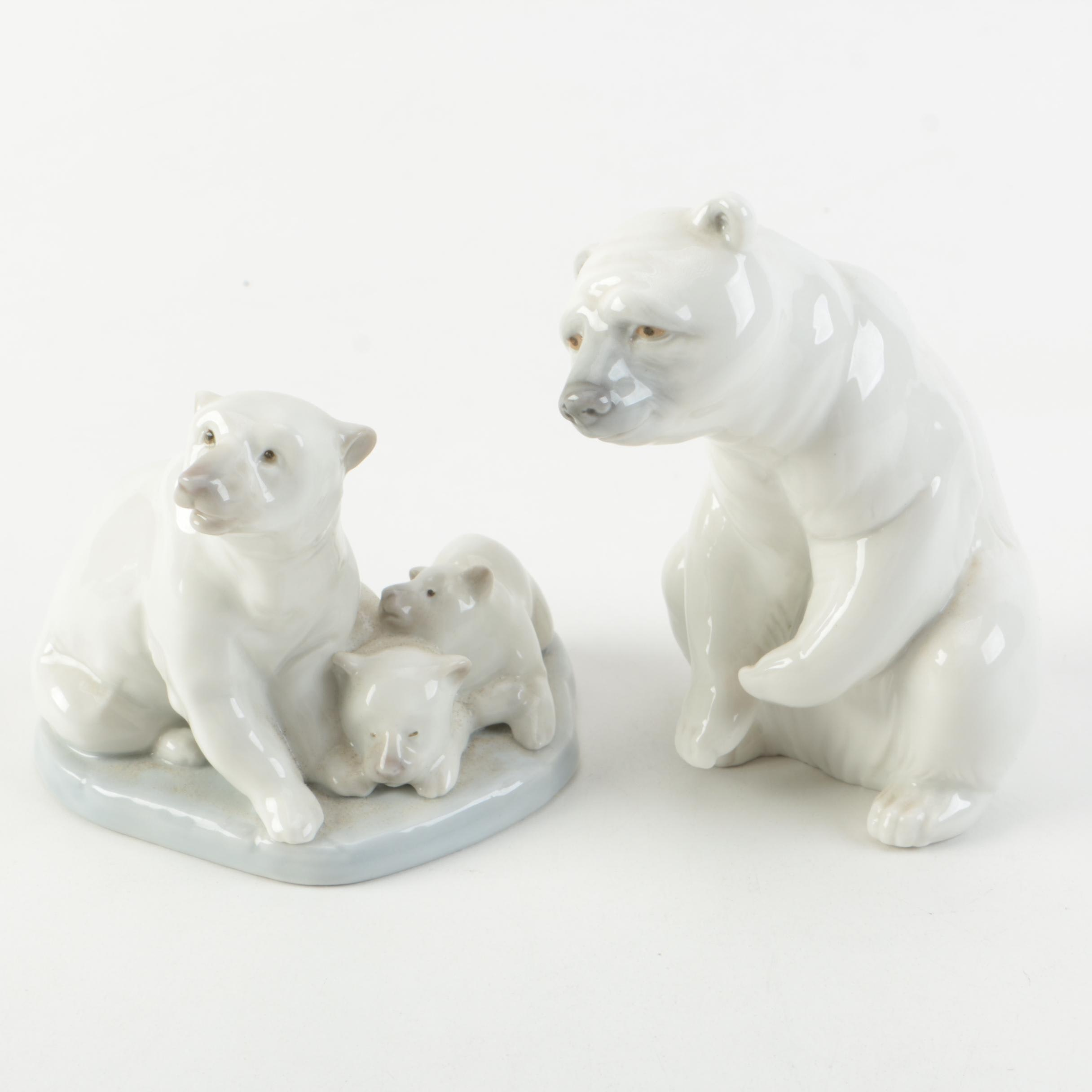 Vintage Lladró Porcelain Polar Bear Figurines