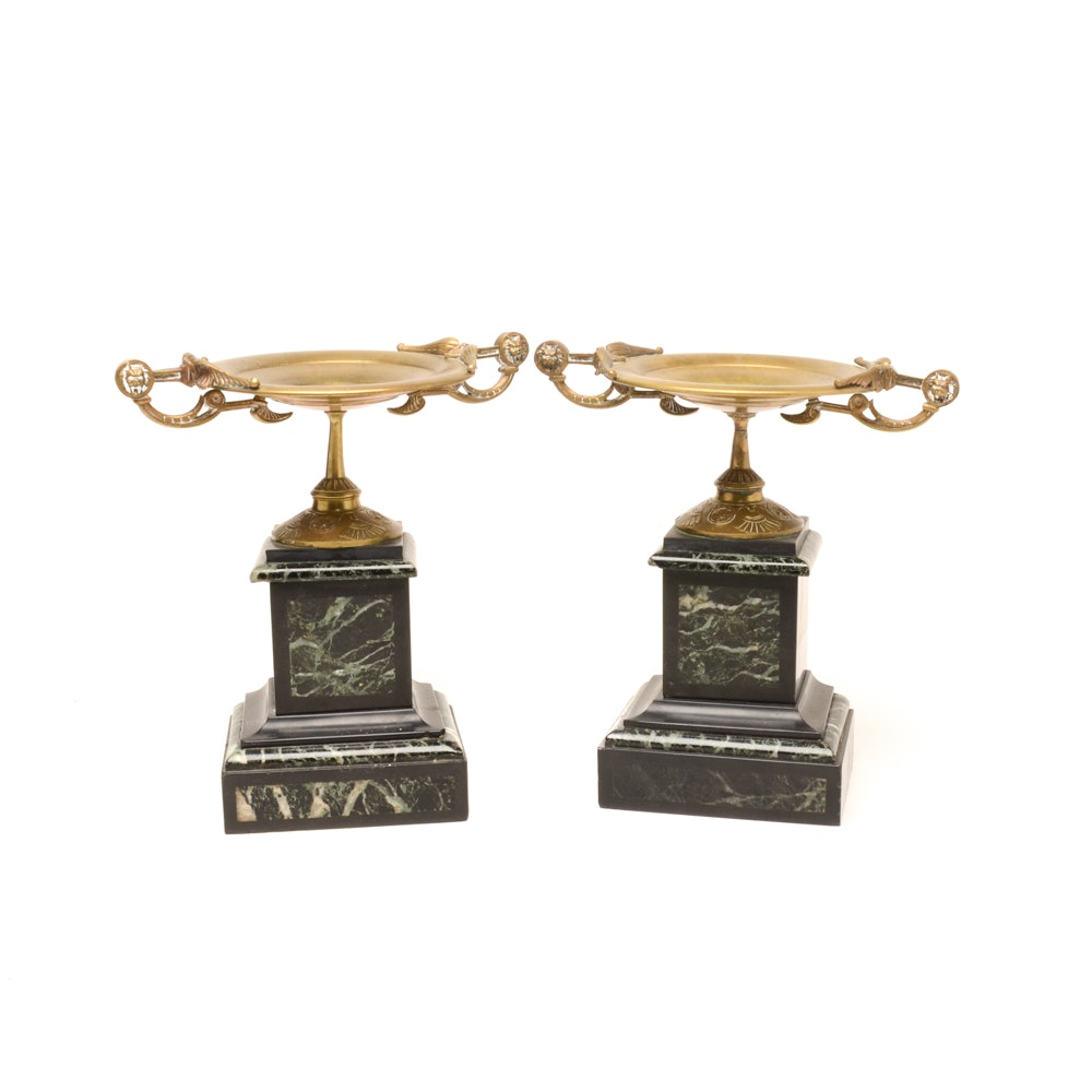 19th Century Brass and Marble Tazza Garnitures