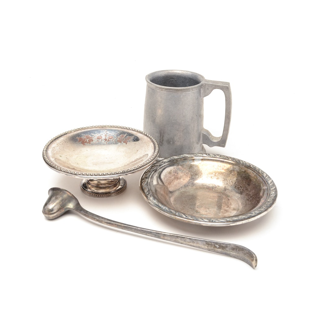 Vintage Silver Plate and Pewter Serving Ware