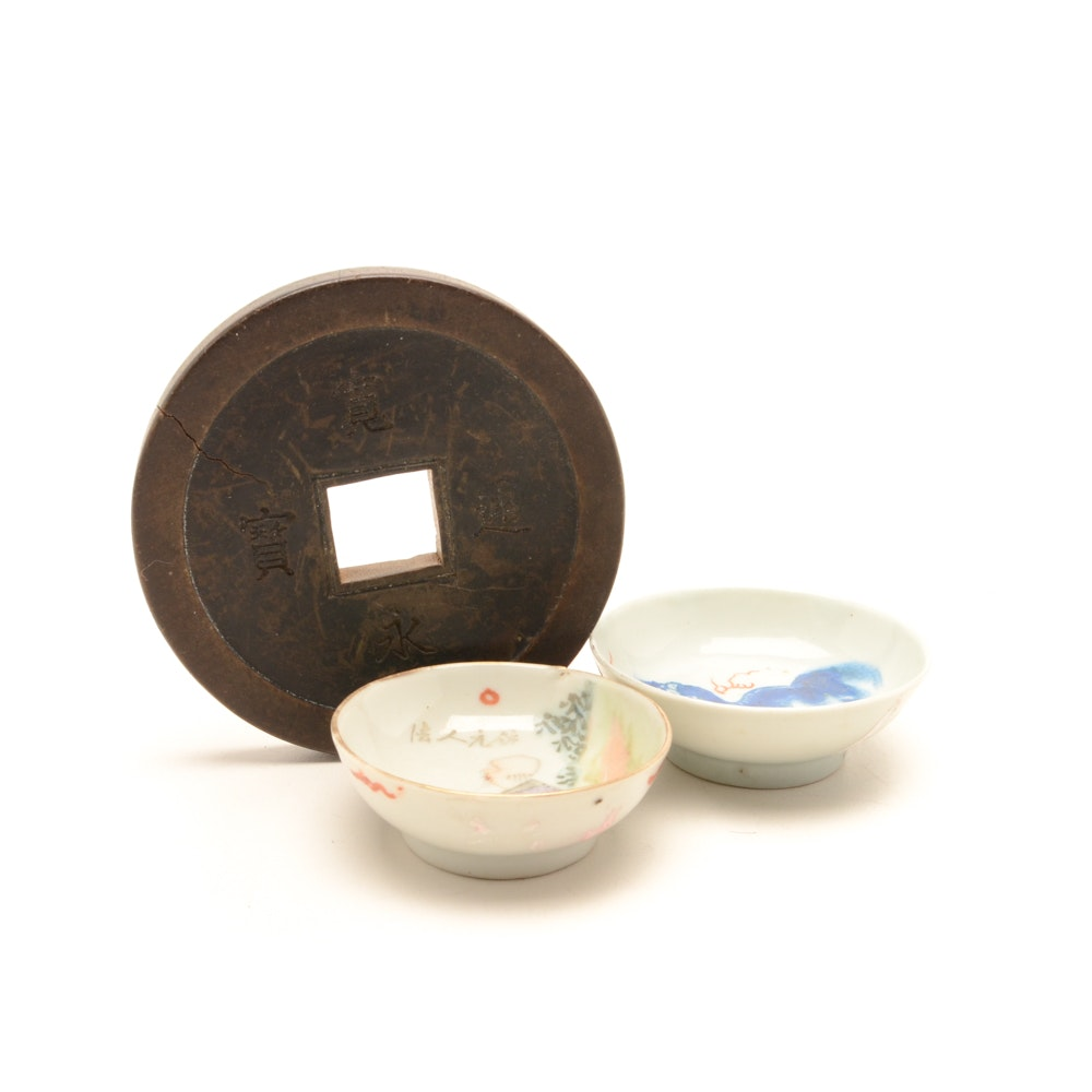 Small Hand-Painted Chinese Porcelain Bowls and Wooden Coin