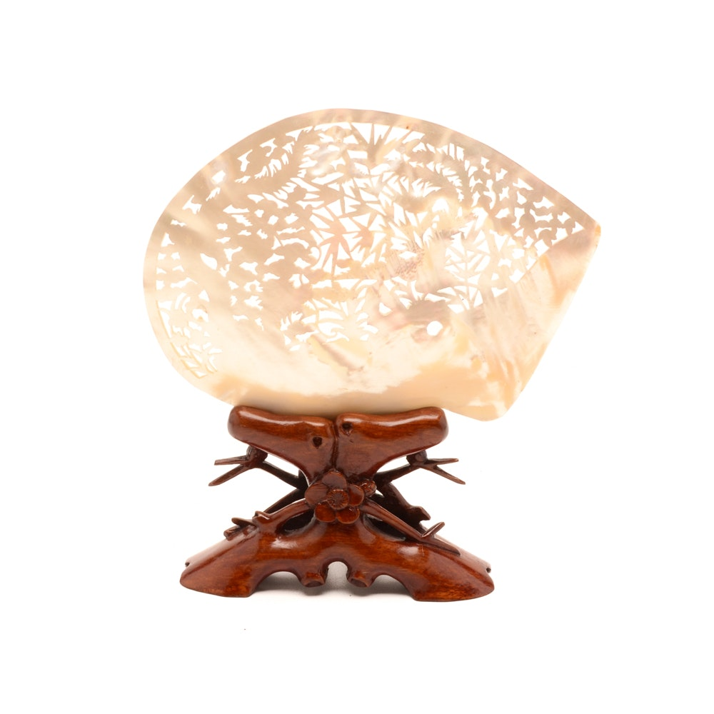 Chinese Carved Mother of Pearl Shell Sculpture On Stand