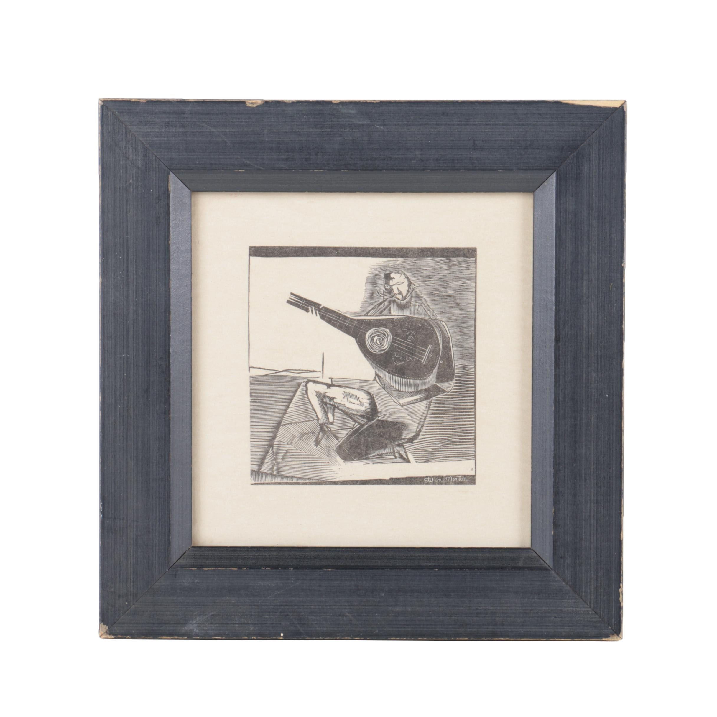 Stefan Martin Wood Engraving on Paper of Musician