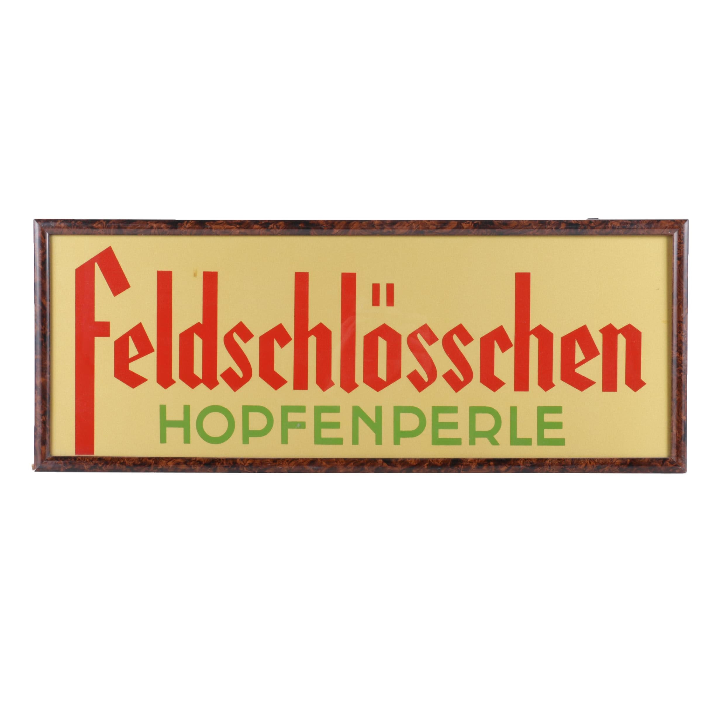 Framed Serigraph Feldschlösschen Beer Sign