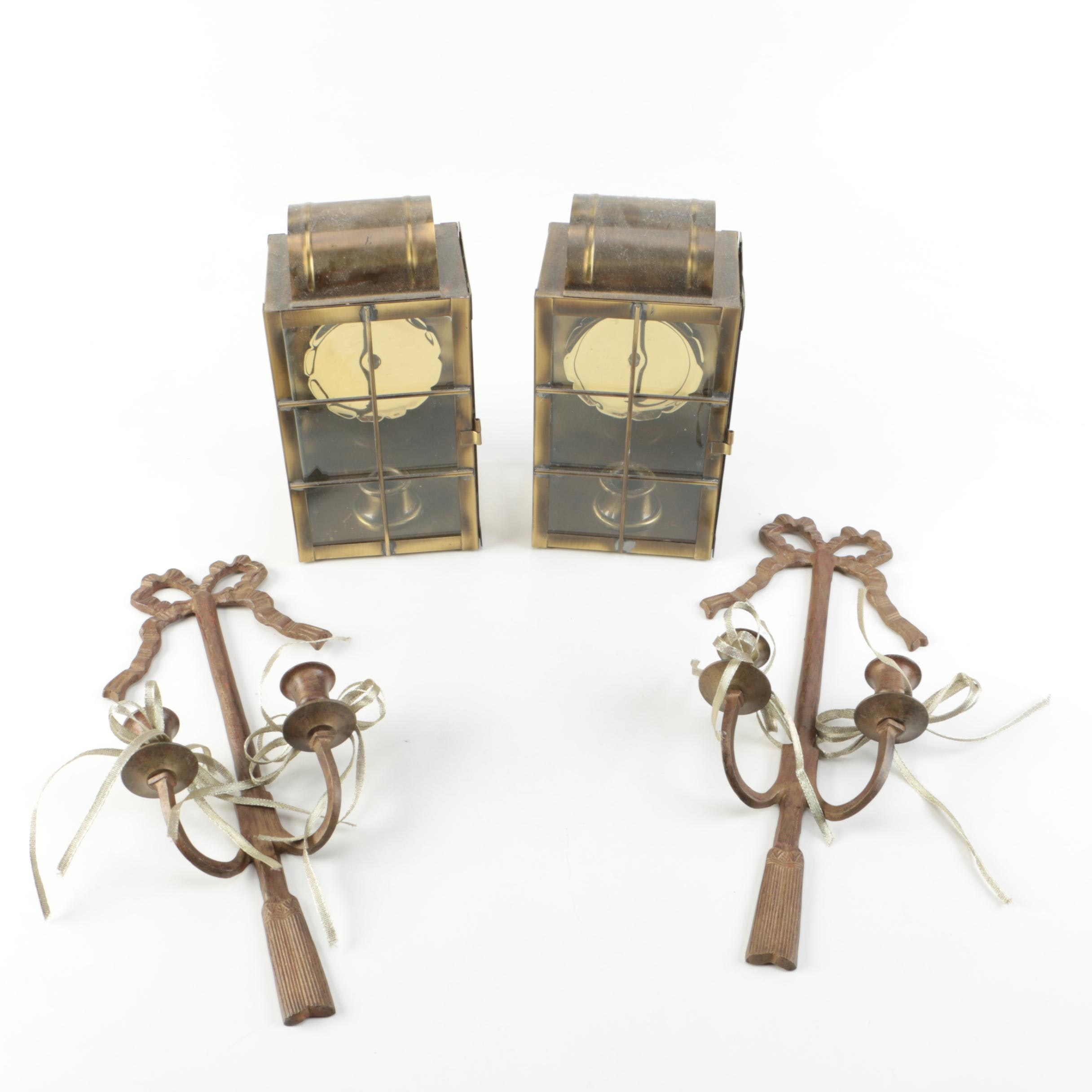 Two Sets of Metal Candle Holders
