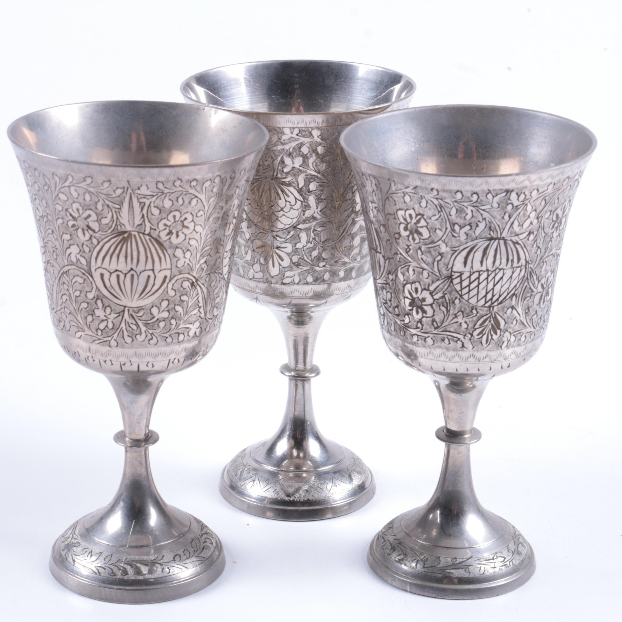 Z.Y. India Engraved Silver Tone Goblets