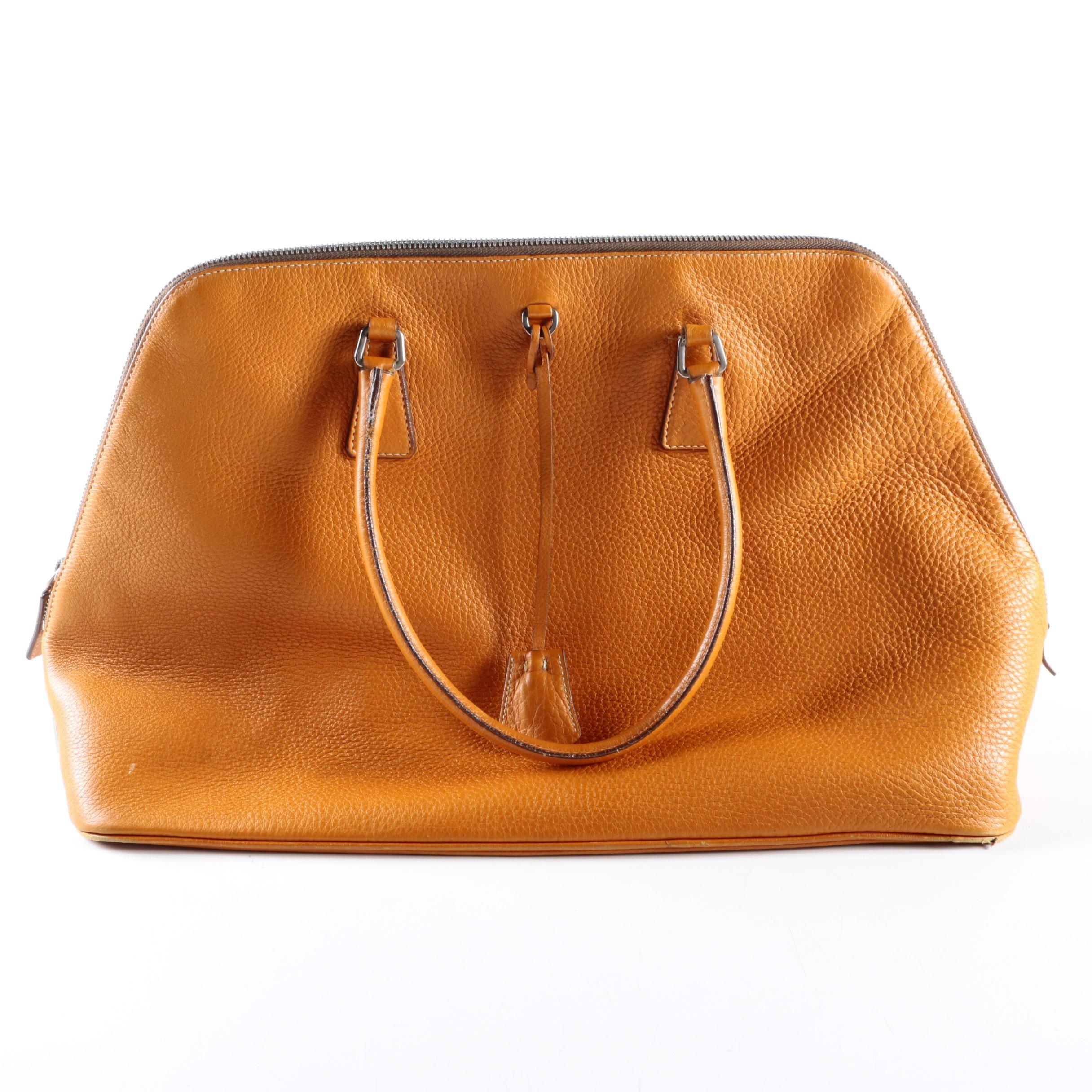 Prada Orange Leather Satchel Handbag