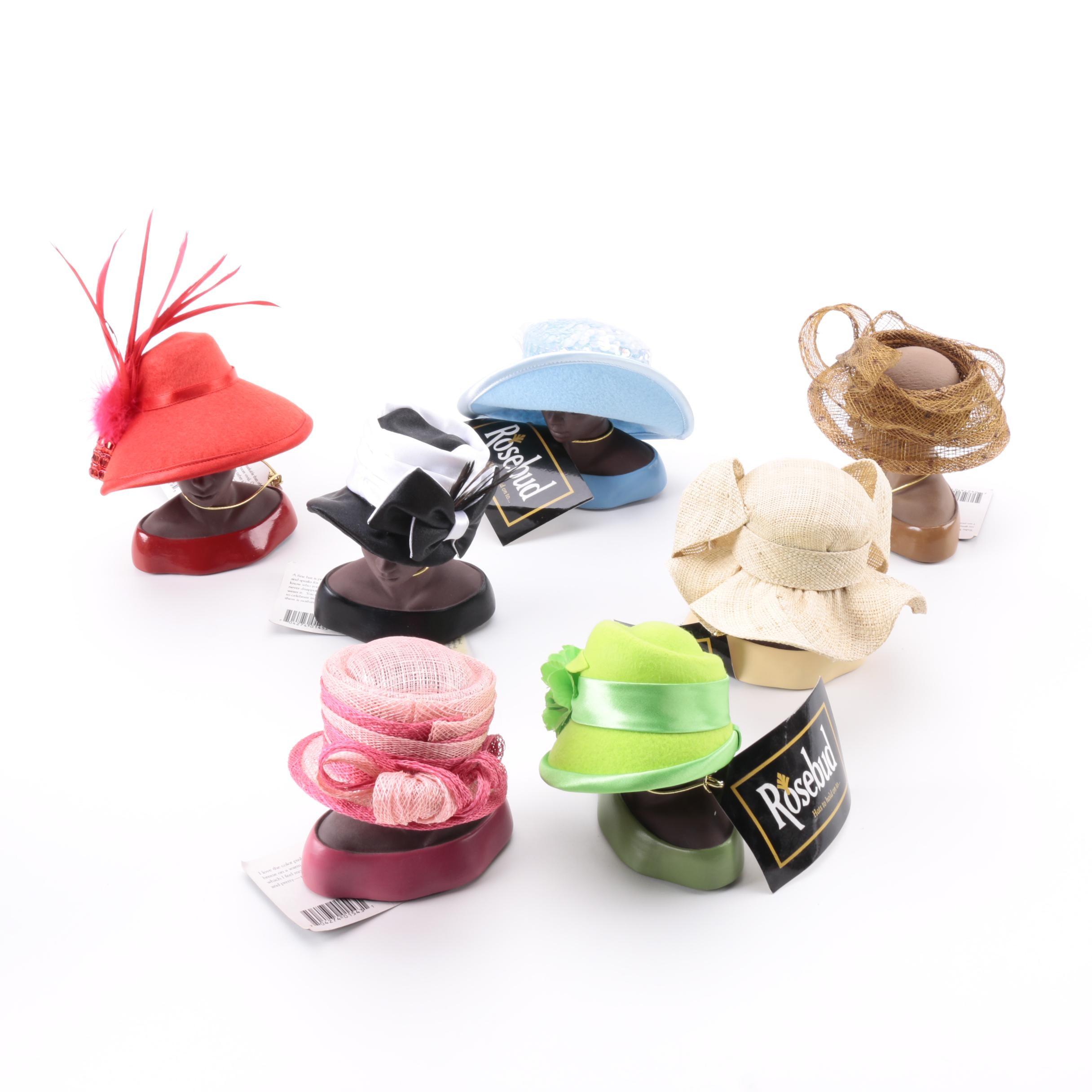 Harriet Rosebud Miniature Hats on Busts