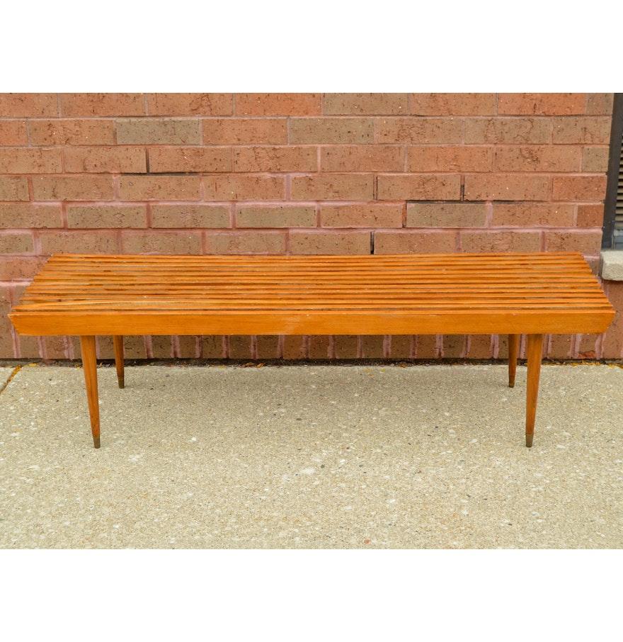 Mid century modern slat benchcoffee table in beech styled after mid century modern slat benchcoffee table in beech styled after george nelson geotapseo Gallery