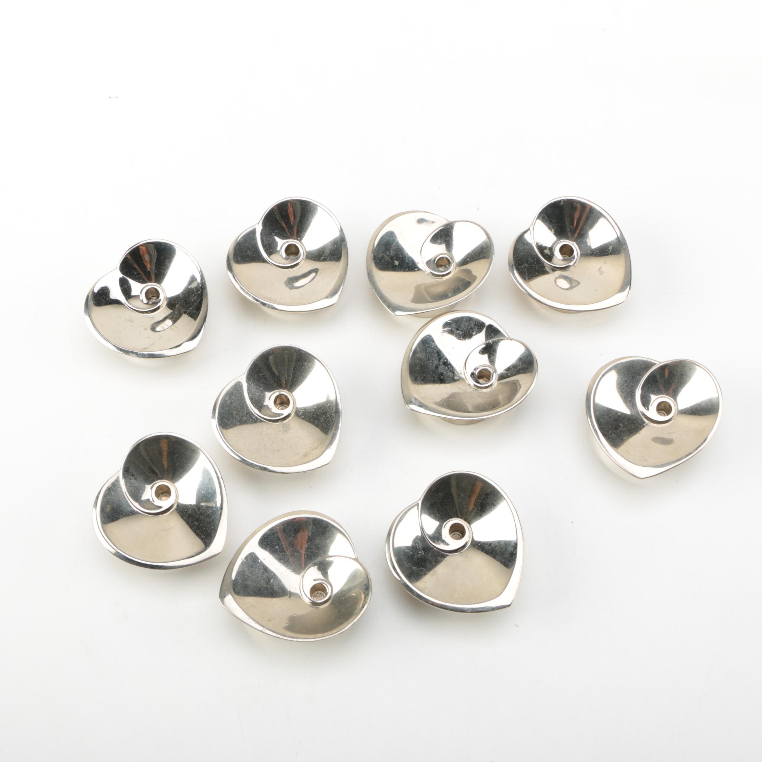 Dansk Mid Century Modern Silver Plate Heart Candle Holders