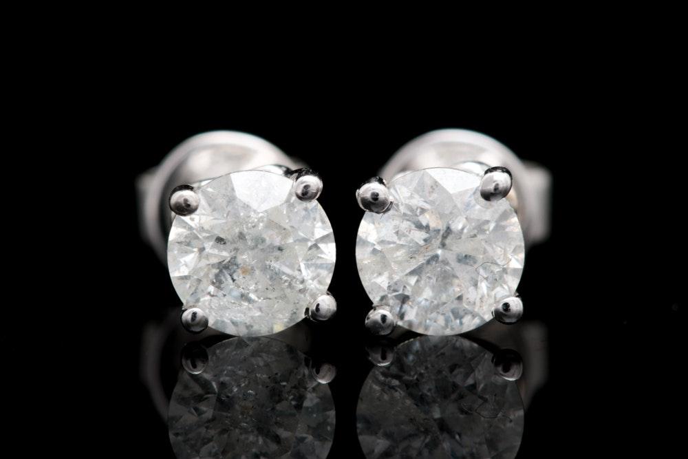 10K White Gold and 1.12 CTW Diamond Stud Earrings