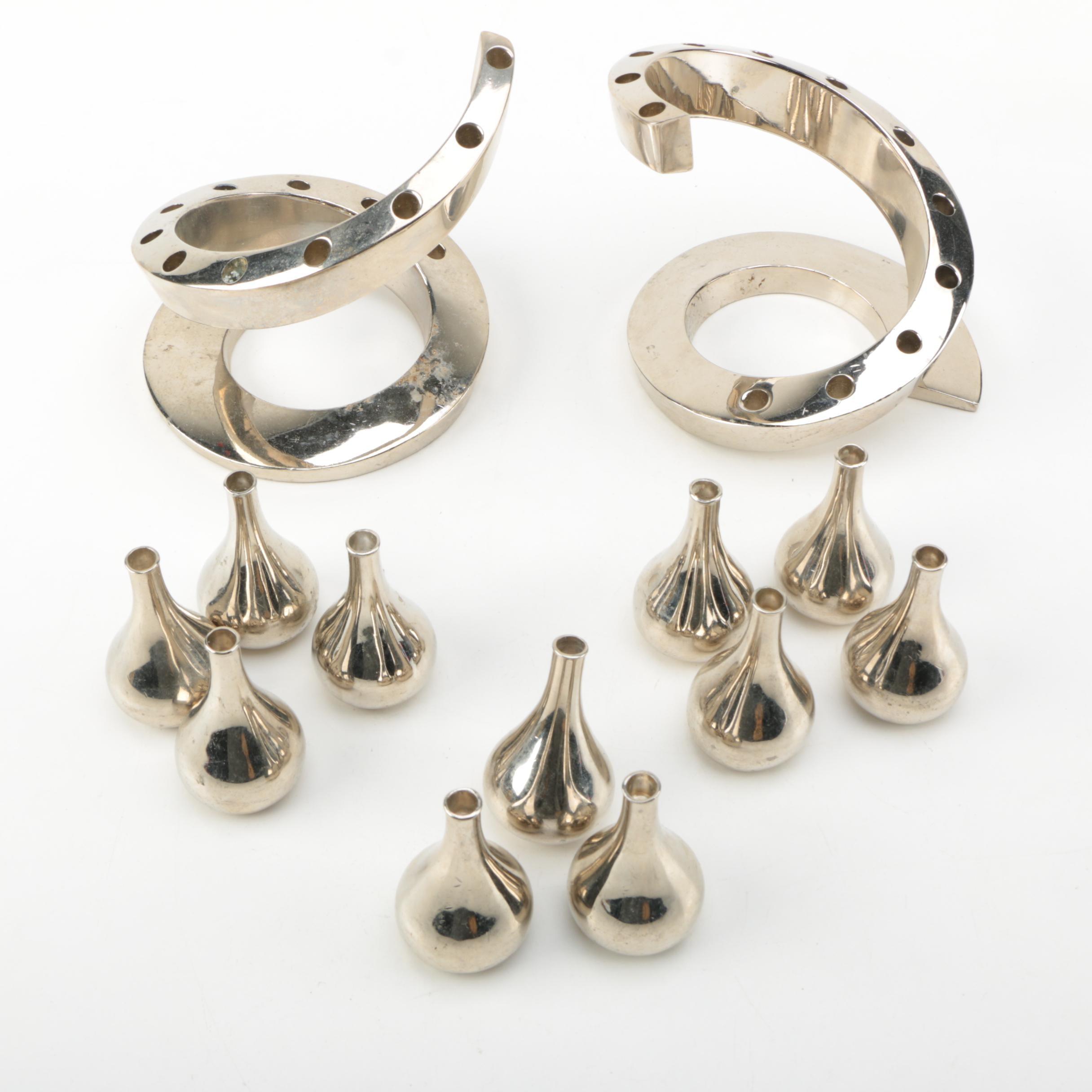 Dansk Mid Century Modern Silver Plate Candleholders