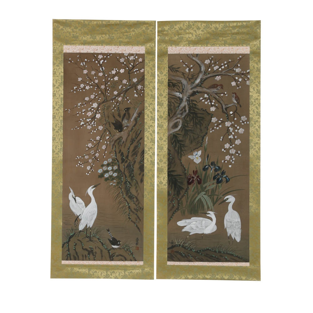 Two Japanese Gouache on Silk Scroll Paintings of Birds and Cranes