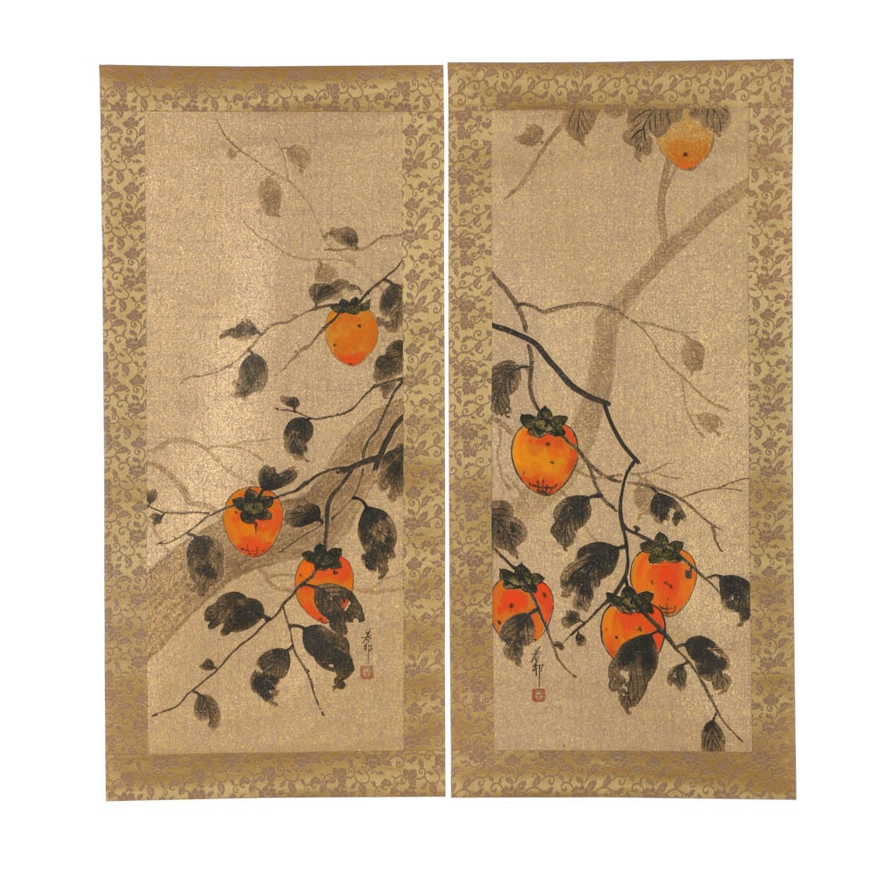Two Japanese Gouache Paintings Mounted to Silk of Trees with Orange Fruit
