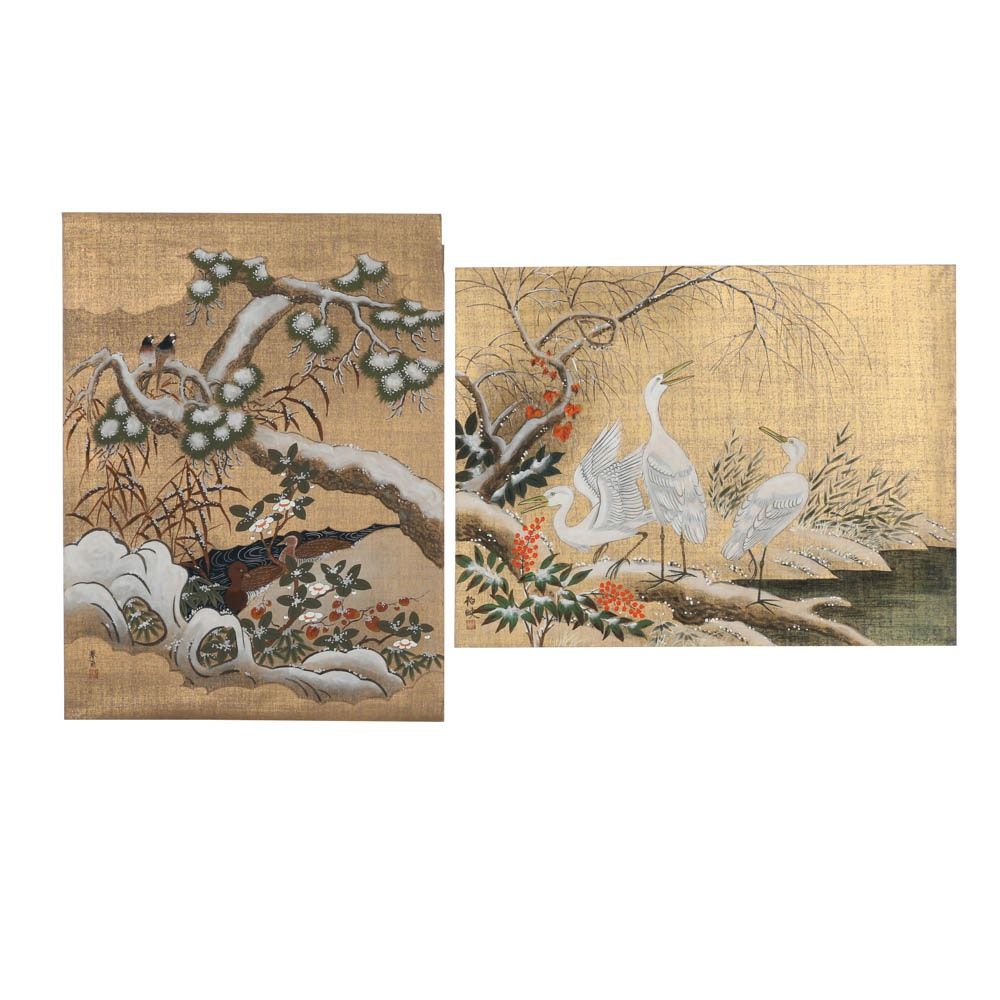 Pair of Japanese Gouache Paintings on Papers of Birds