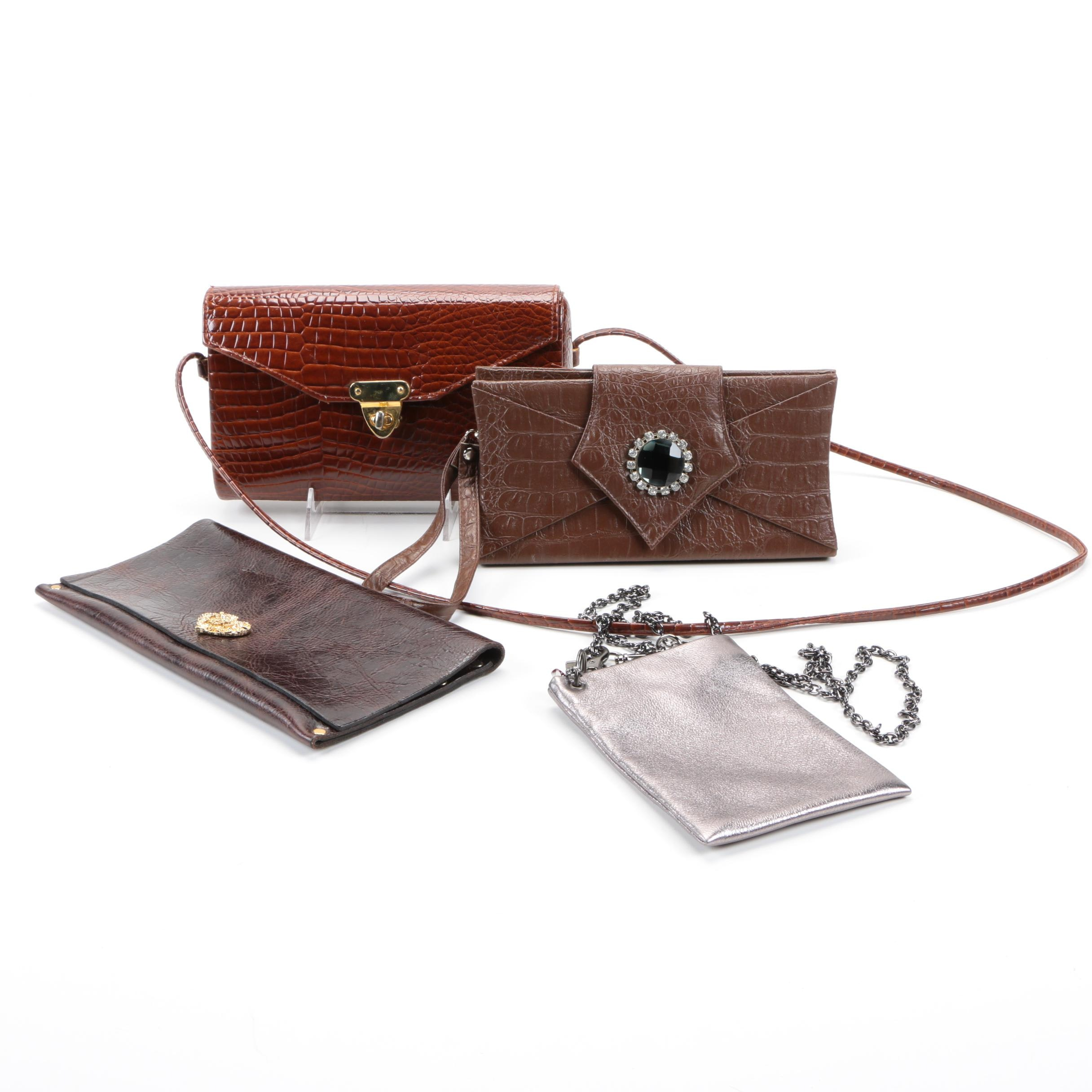 Embossed Leather Crossbody Bags and Clutch