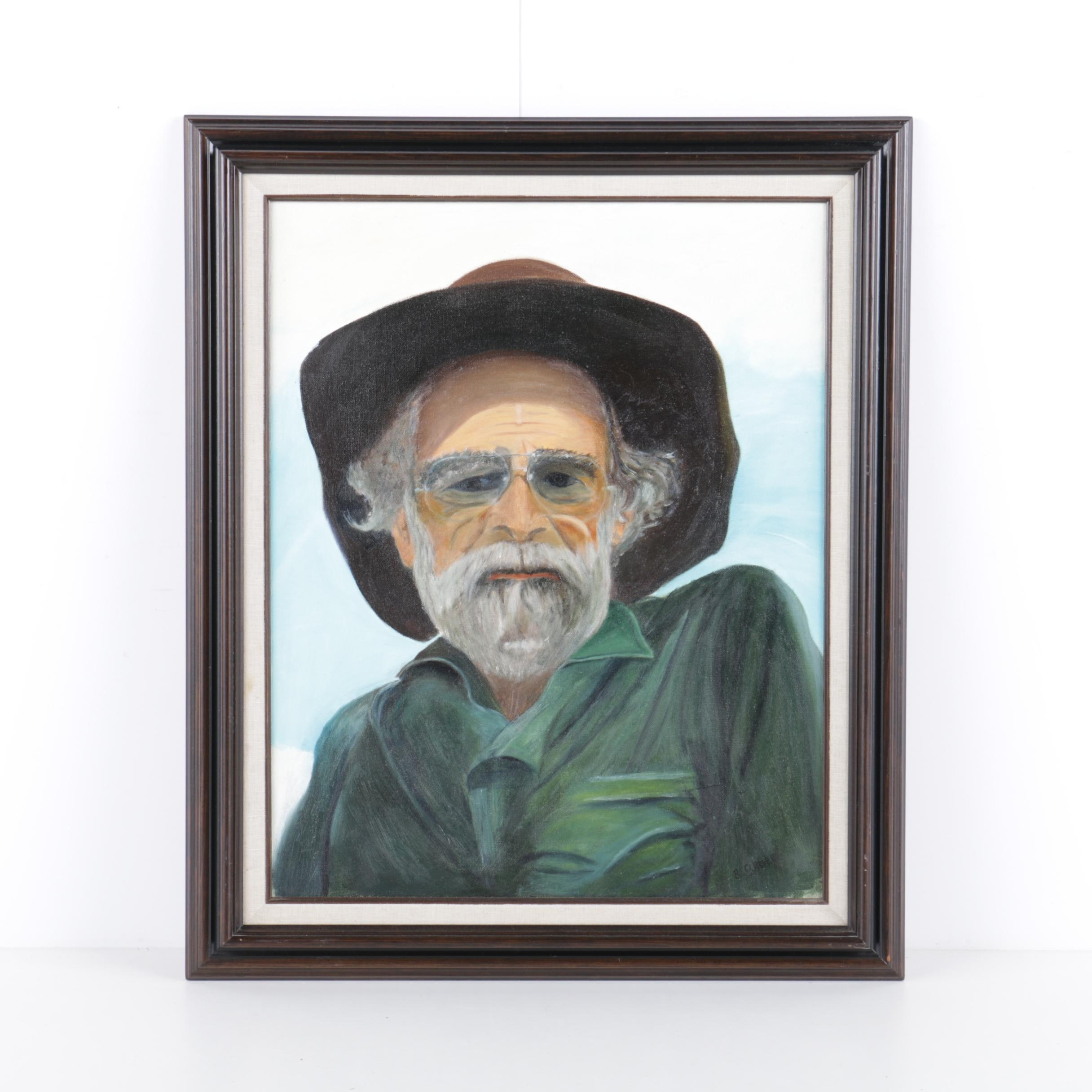 Robert O. Roberts Oil Painting on Canvas of Lew Bell
