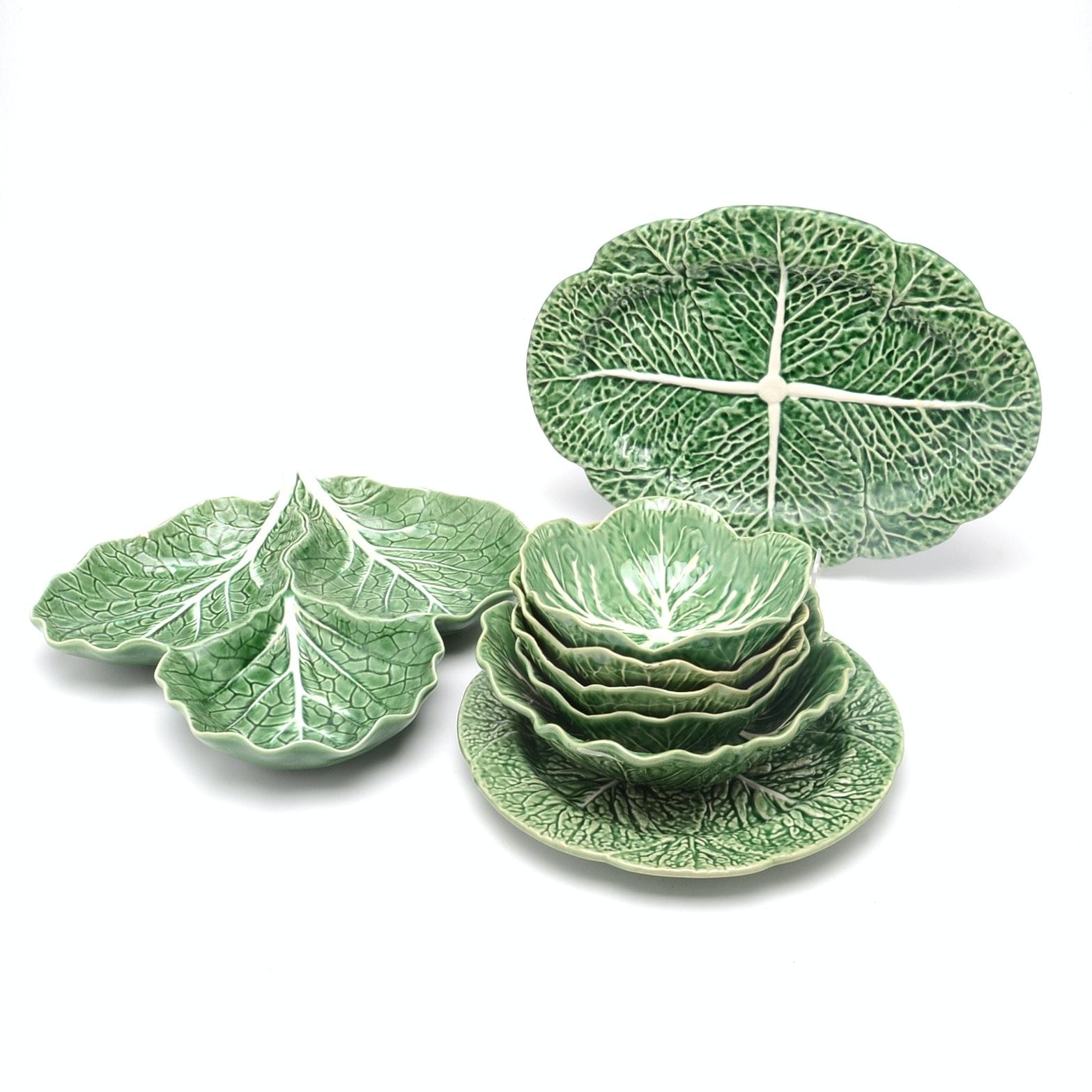 Set of  Bordallo Pinheiro of Portugal Majolica Cabbage Leaf China