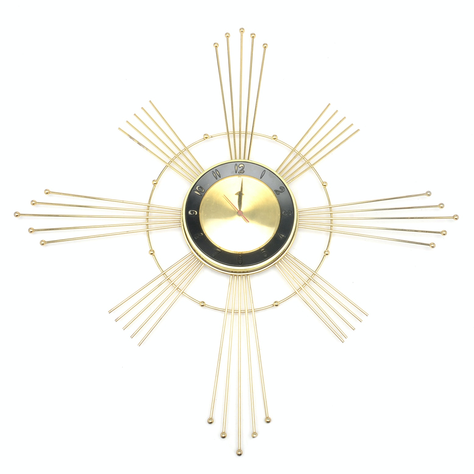 Vintage Sunburst Wall Clock by Lux Time