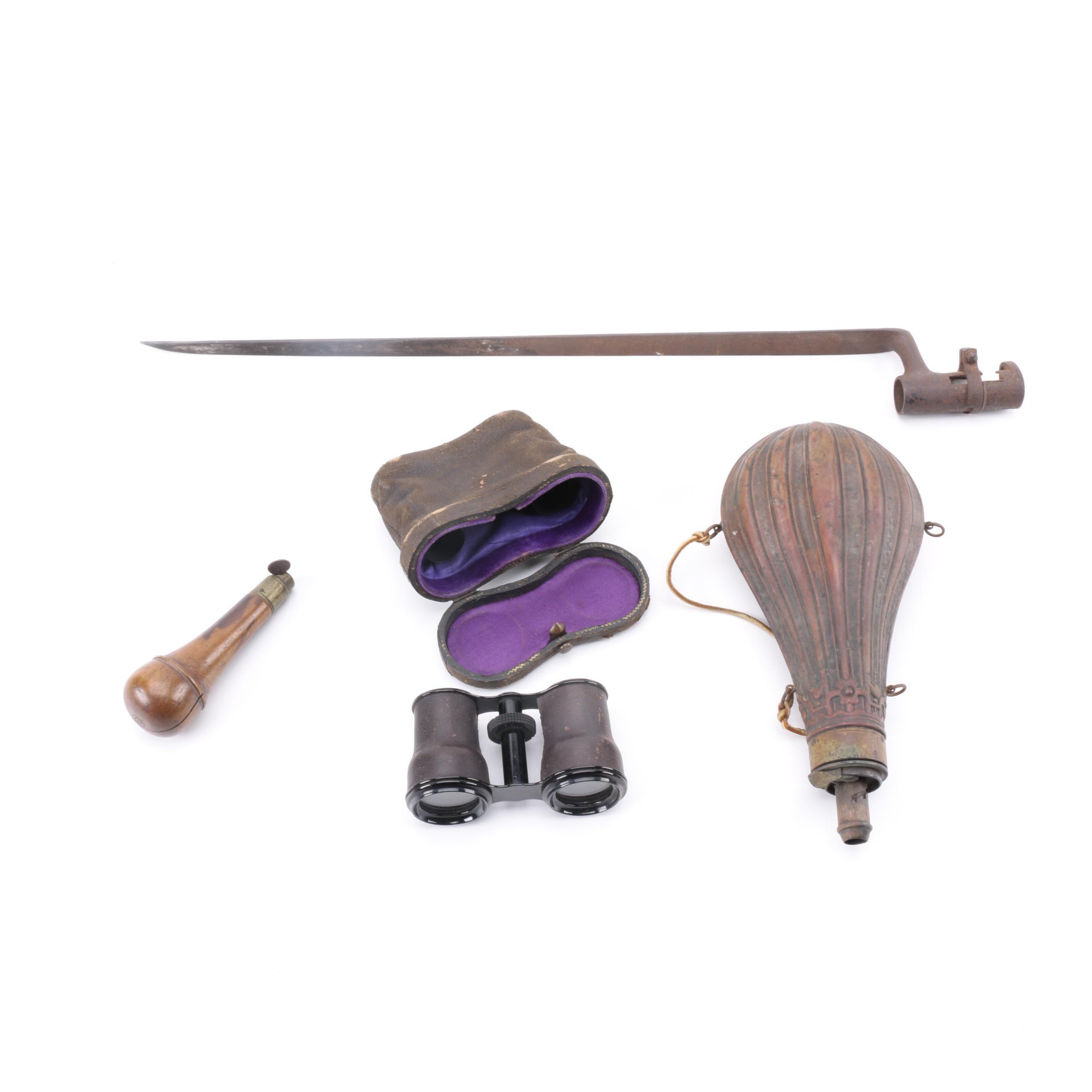 Bayonet, Binoculars, and Powder Horns