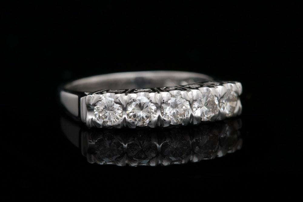 Platinum and Diamond Five Stone Ring