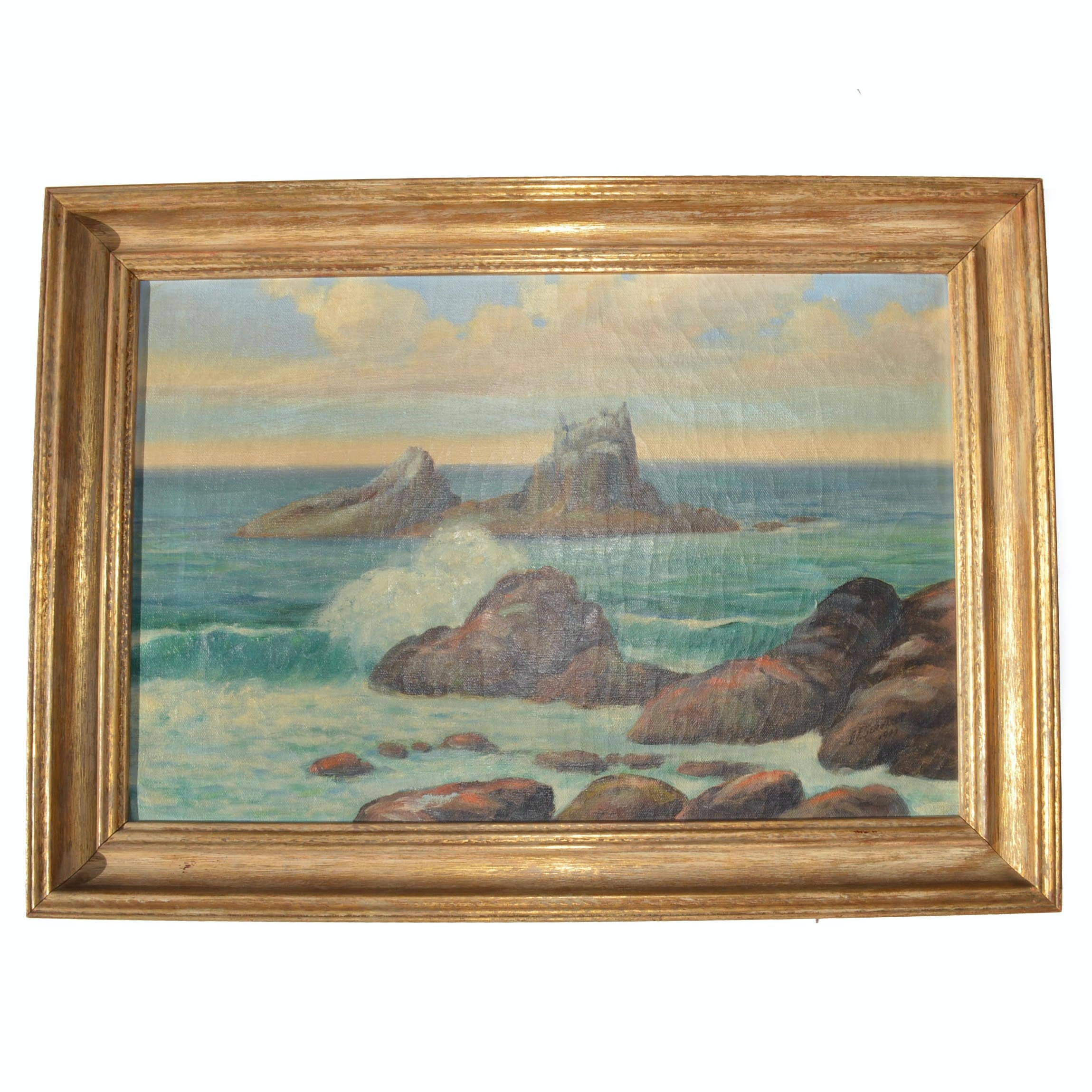 1940s D.E.Gerhardt Acrylic on Canvas Seascape Painting