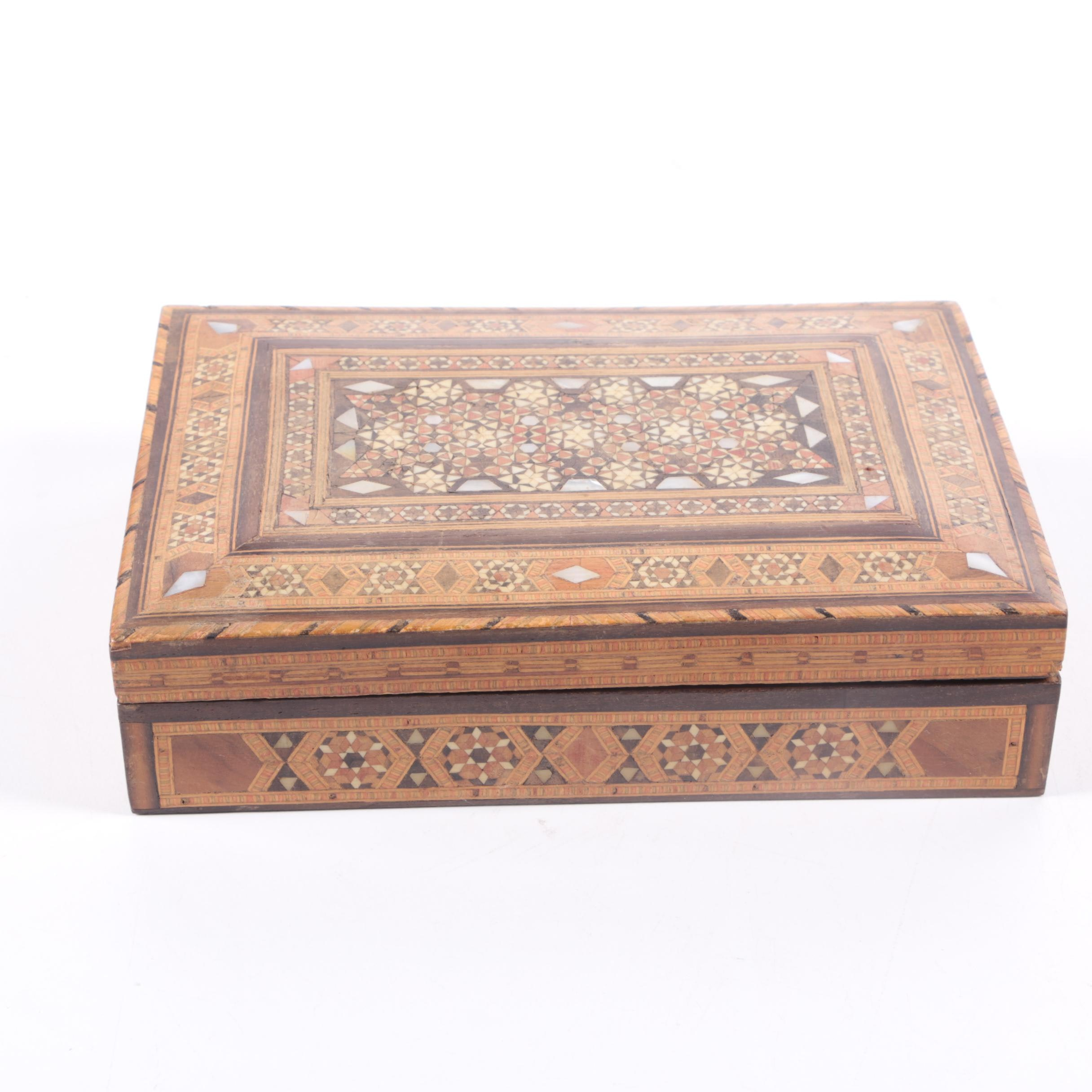 Moorish Style Inlaid Wooden Box