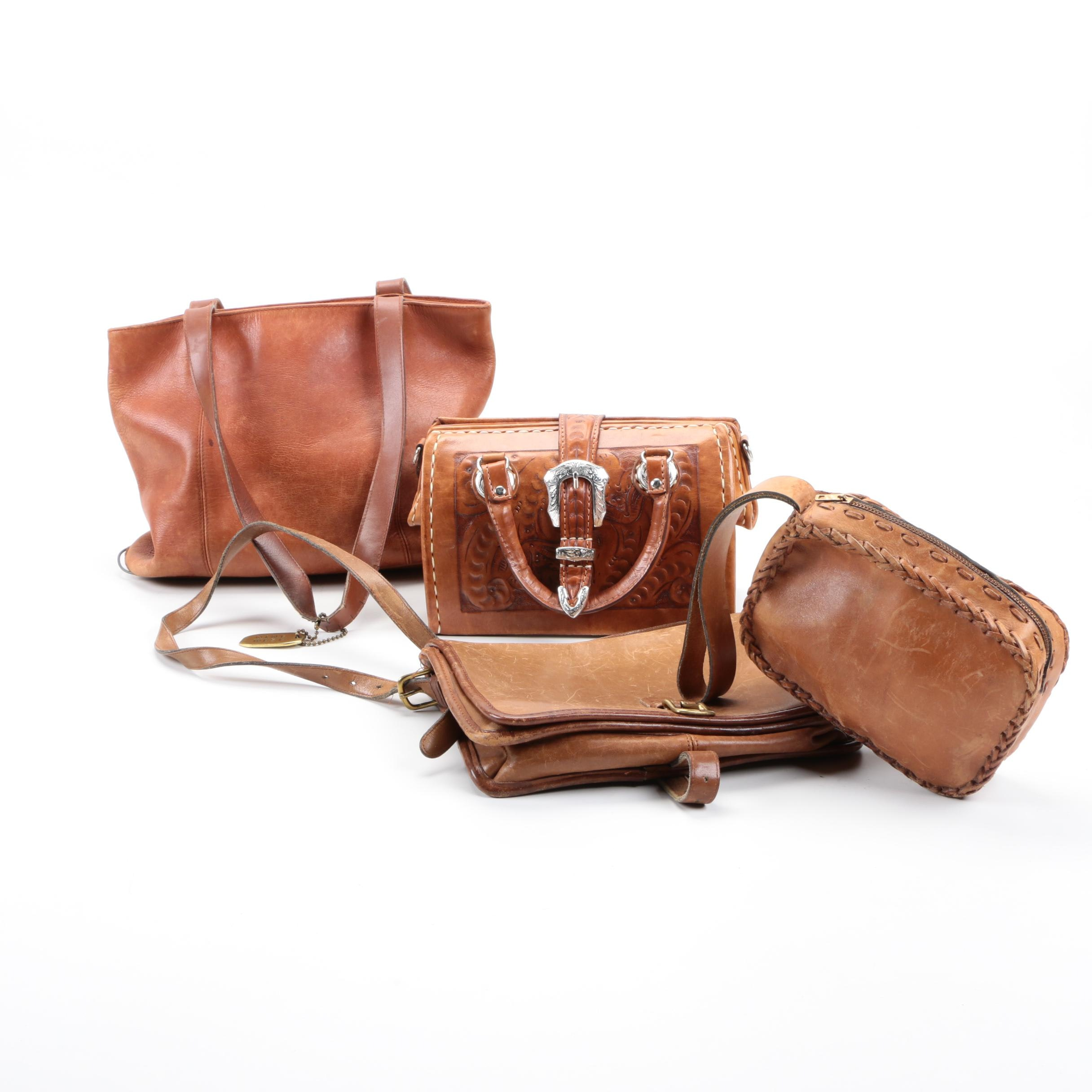 Brown Leather Handbags Including Vintage Coach