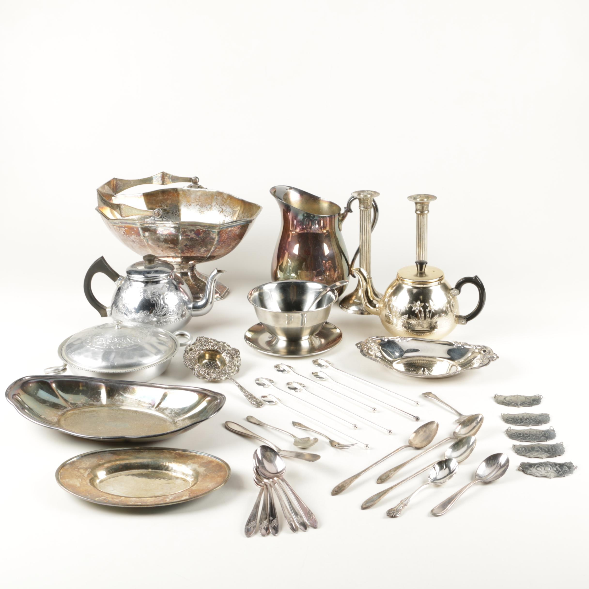 Godinger, Oneida, and Other Silver Plate and Metal Tableware